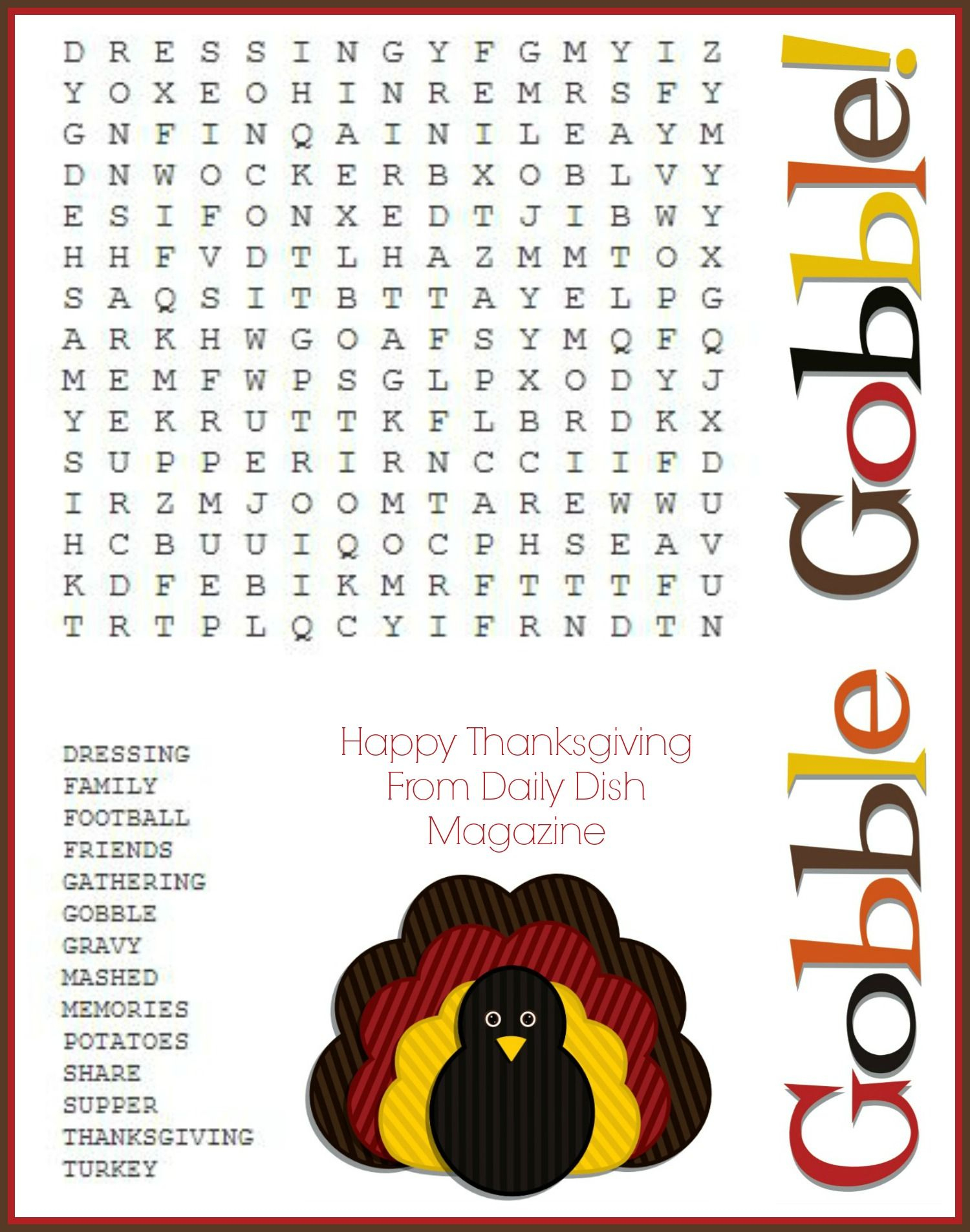 Free Thanksgiving Puzzles ~ Word Search And Maze Printable | Crafty - Thanksgiving Games Printable Free