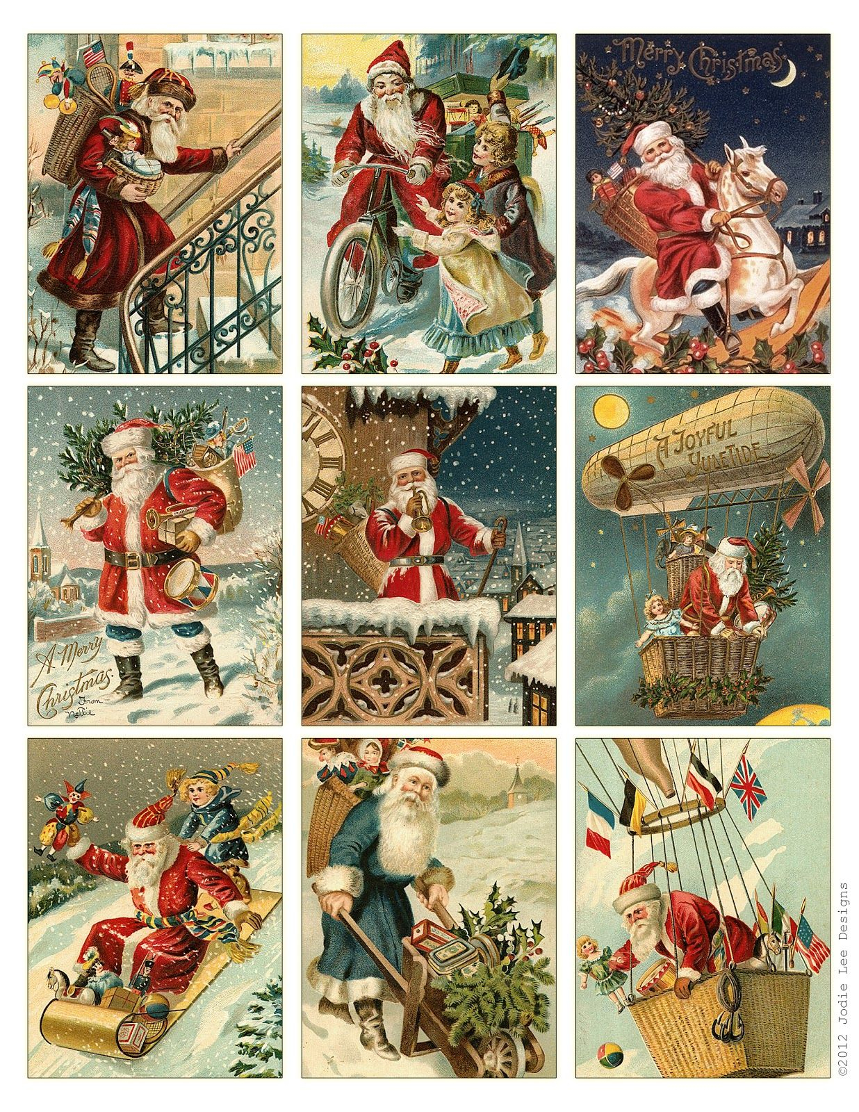 Free To Download! Printable Vintage Santa Tags Or Cards. | Free - Free Printable Vintage Art