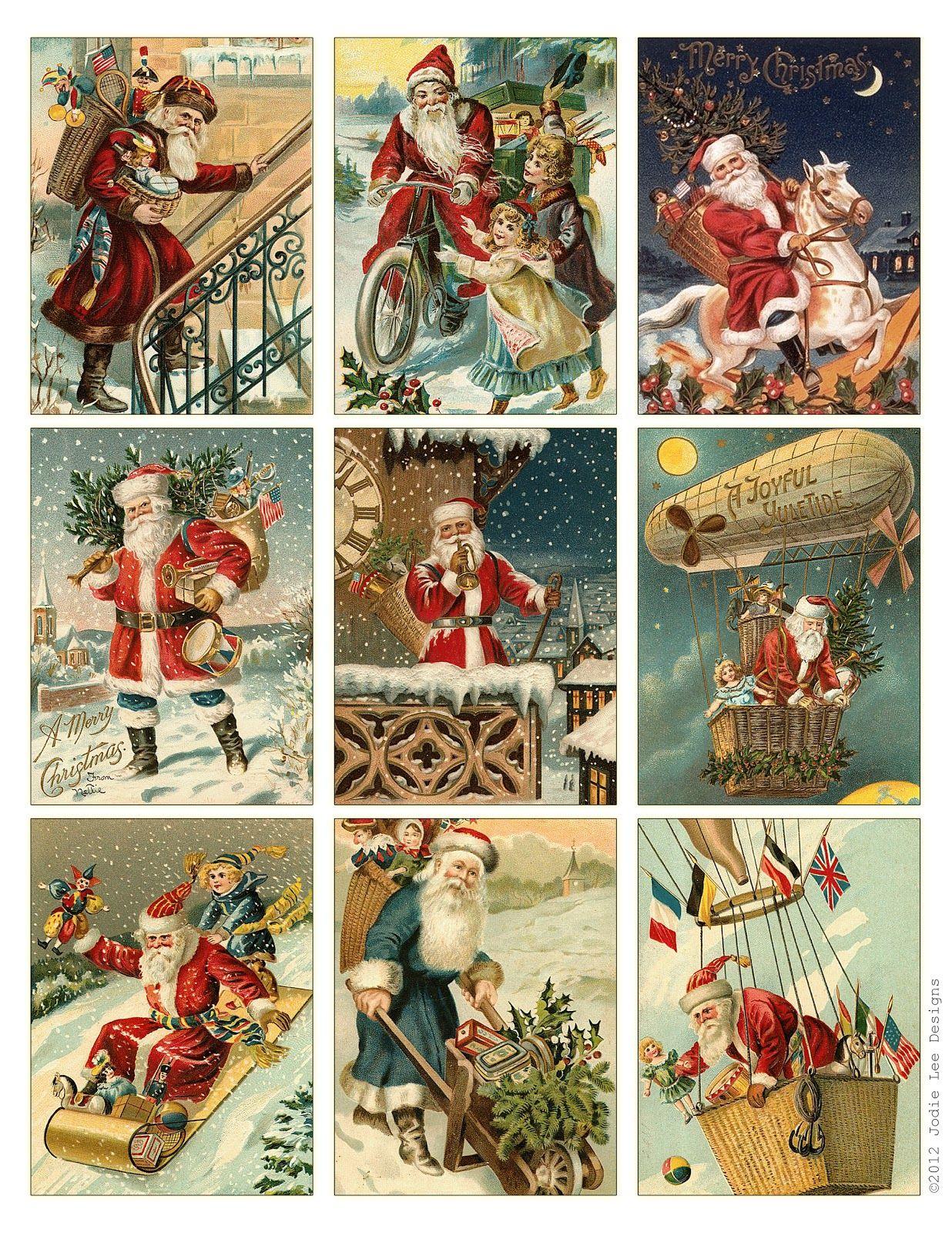 Free To Download! Printable Vintage Santa Tags Or Cards.   Free - Free Printable Xmas Cards Download