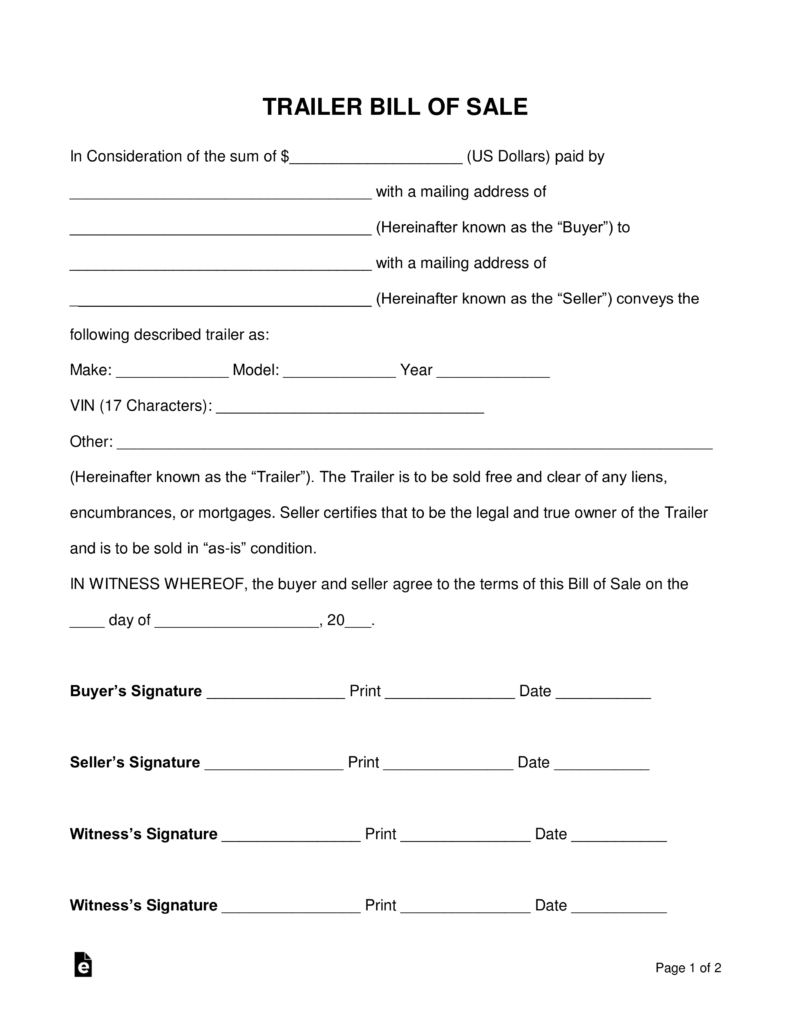 Free Trailer Bill Of Sale Form - Word | Pdf | Eforms – Free Fillable - Free Printable Texas Bill Of Sale Form