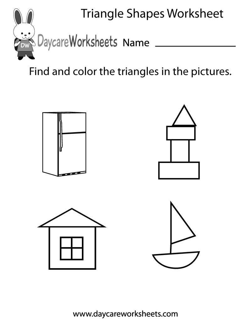 Free Triangle Shapes Worksheet For Preschool - Free Printable Shapes Worksheets For Kindergarten