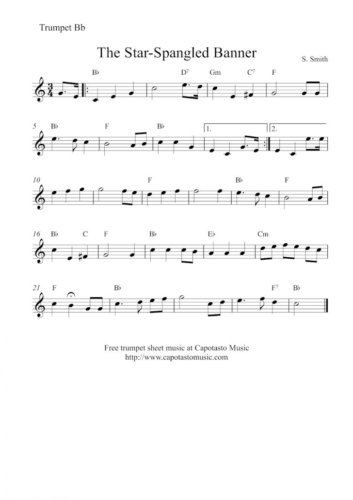Free Printable Piano Sheet Music For The Star Spangled Banner