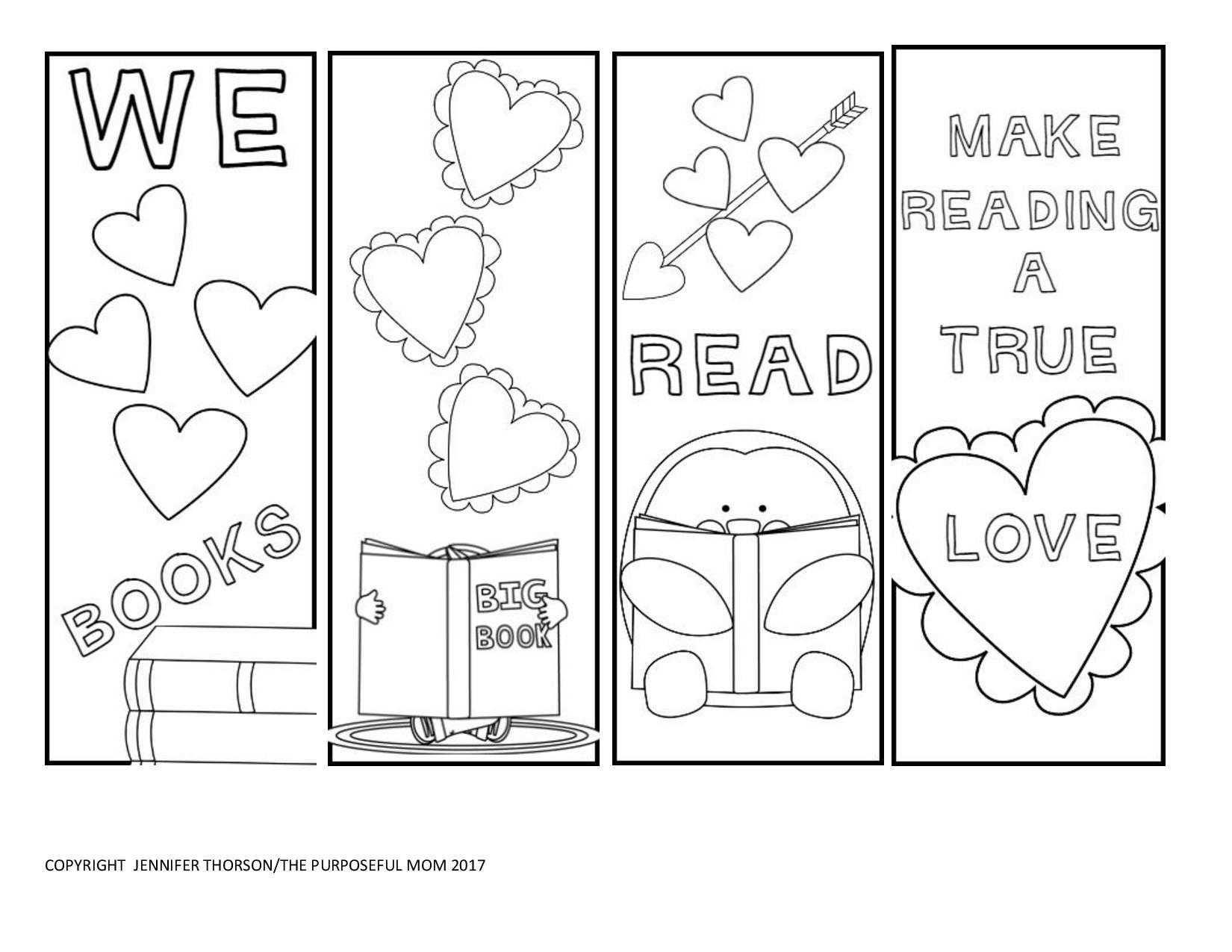 Free Valentine's Day Bookmarks To Color! - The Purposeful Mom - Free Printable Valentine Books