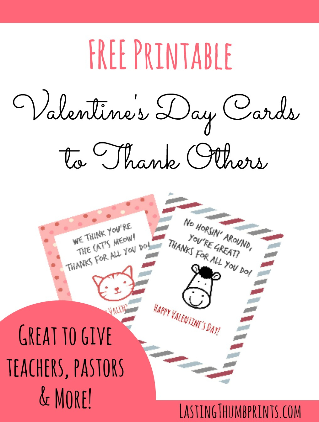 Free Valentine's Day Cards To Thank Others - Free Printable Thank You Cards For Teachers
