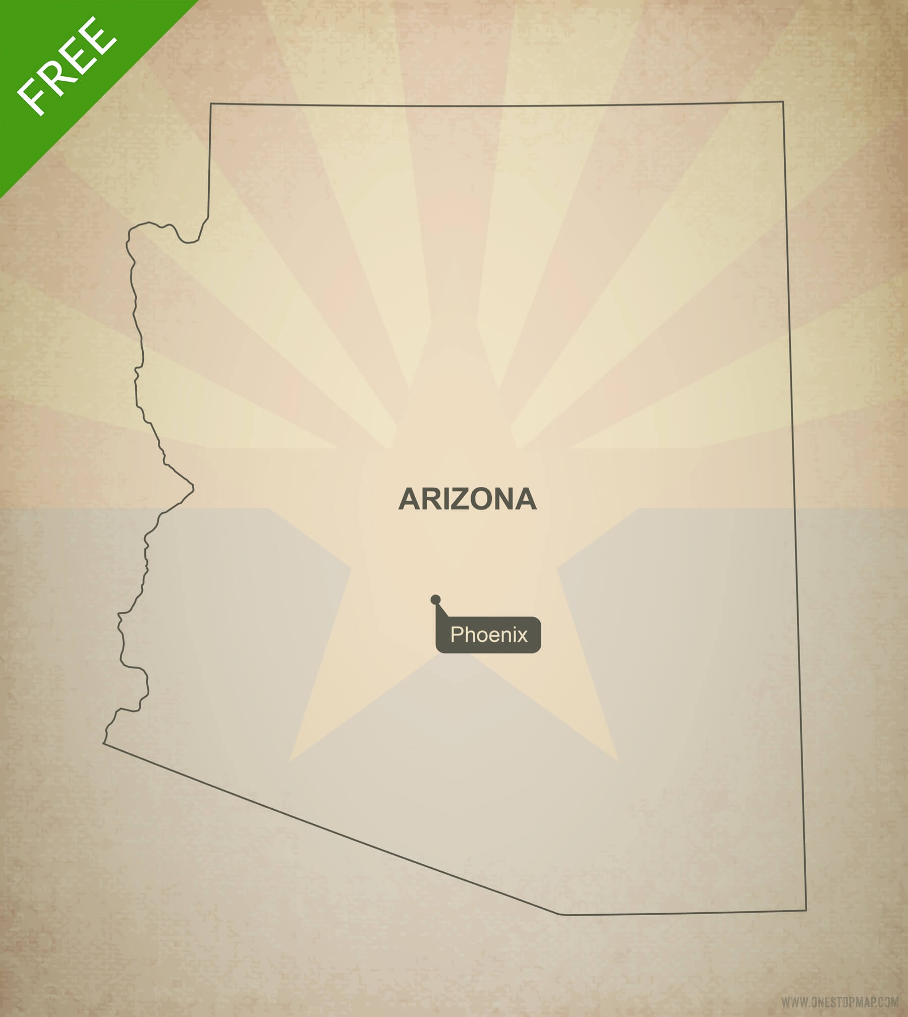 Free Vector Map Of Arizona Outline | One Stop Map - Free Printable Map Of Arizona
