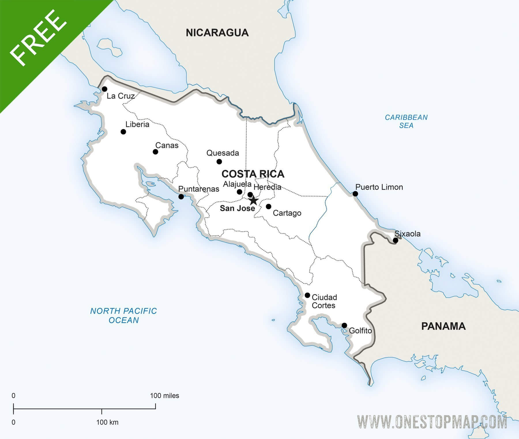 Free Vector Map Of Costa Rica Political   One Stop Map - Free Printable Map Of Costa Rica