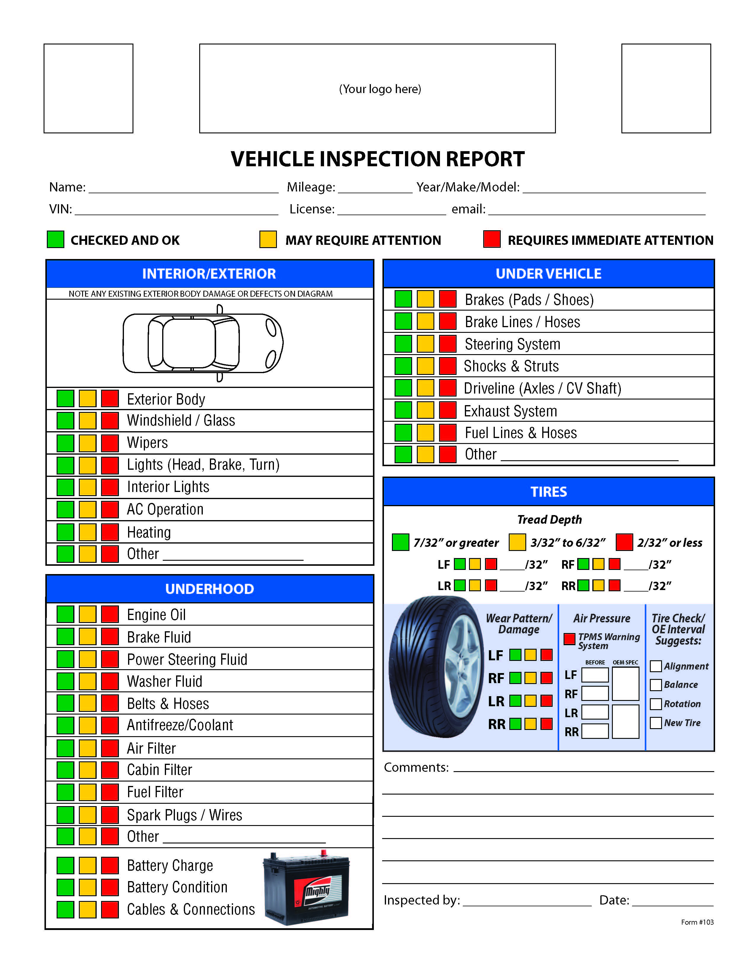 Free Vehicle Inspection Checklist Form | Good To Know | Vehicle - Free Printable Vehicle Inspection Form