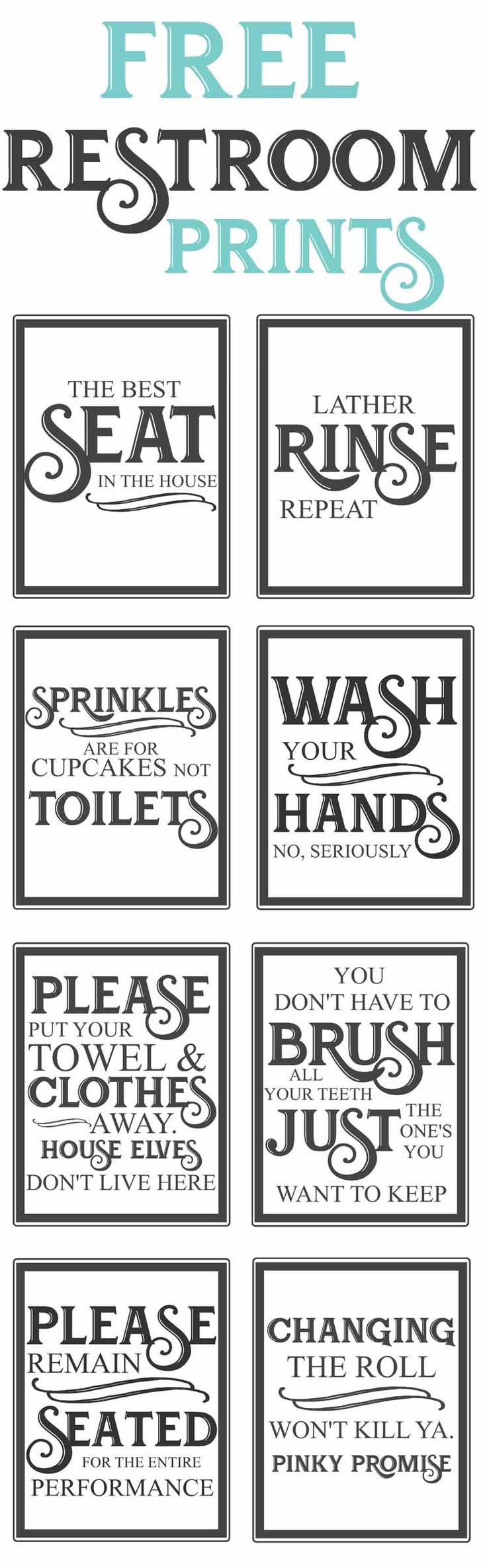Free Vintage Bathroom Printables | Farmhouse | Bathroom, Diy Home - Free Printable Funny Signs