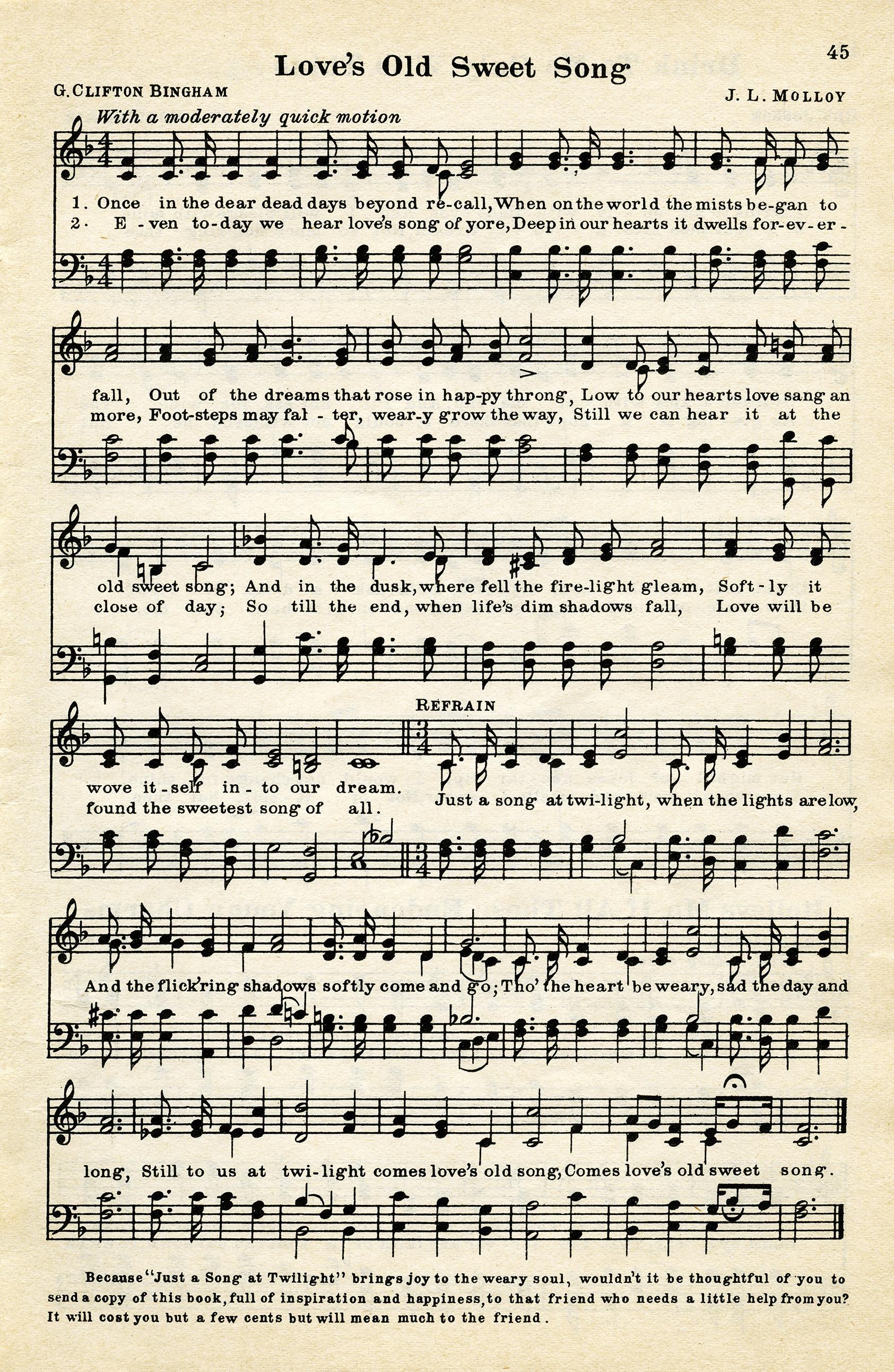 Free Vintage Printable Love Song Sheet Music - Old Design Shop Blog - Christmas Carols Sheet Music Free Printable