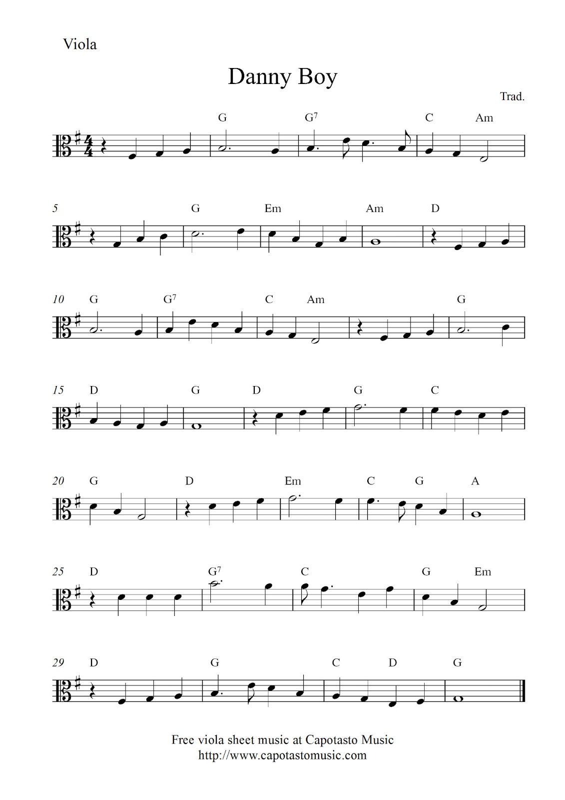 Free Viola Sheet Music Score, Danny Boy - Viola Sheet Music Free Printable