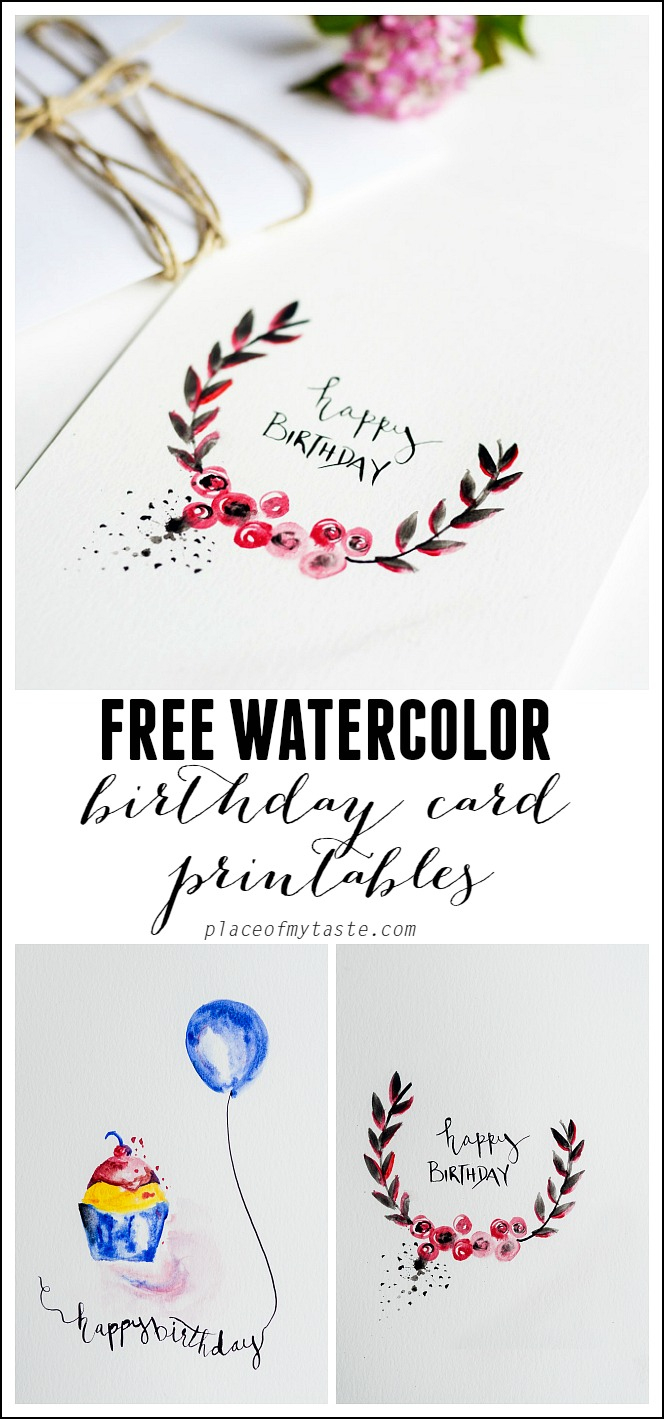 Free Watercolor Birthday Card Printables - Capturing Joy With - Free Printable Birthday Cards