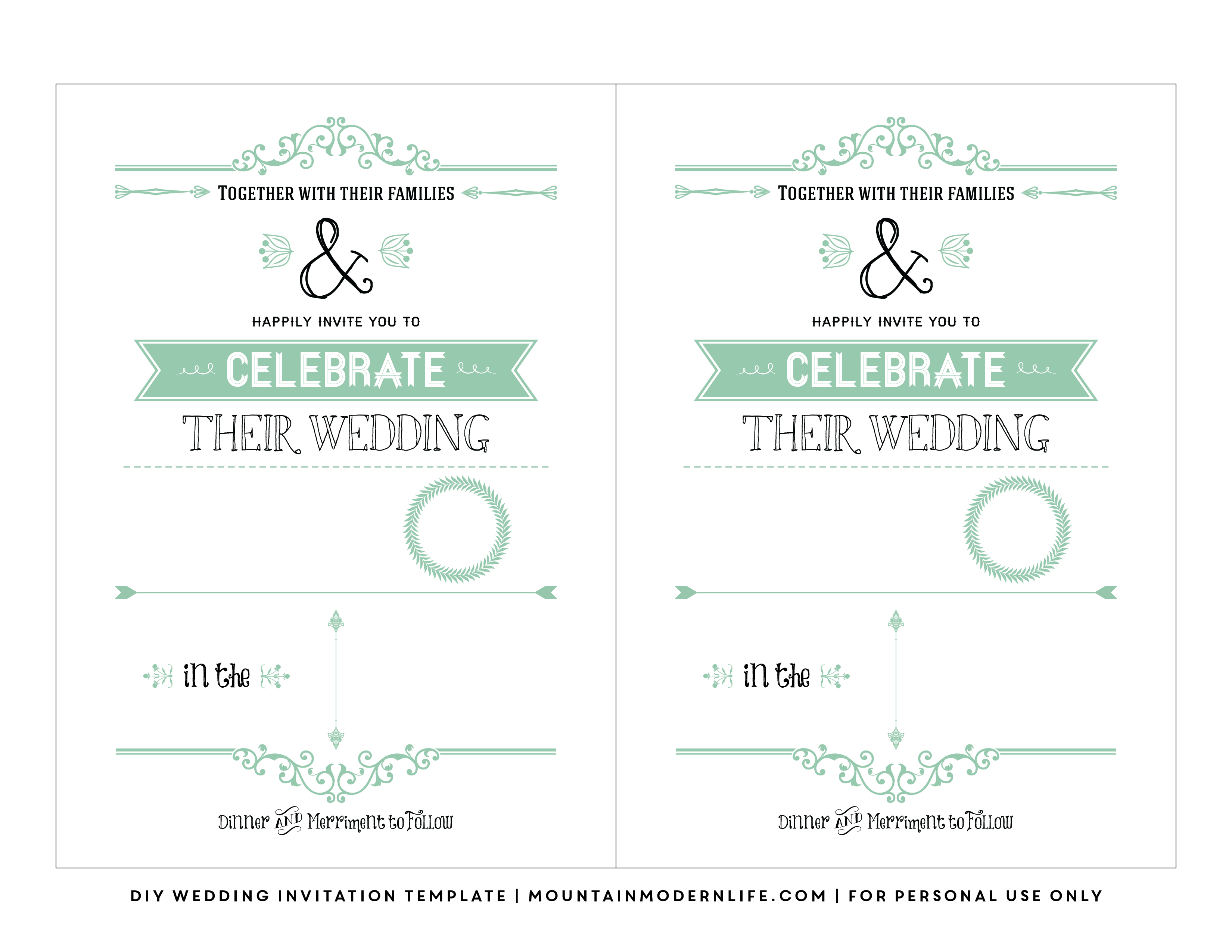 Free Wedding Invitation Template | Mountainmodernlife - Free Printable Wedding Invitation Templates