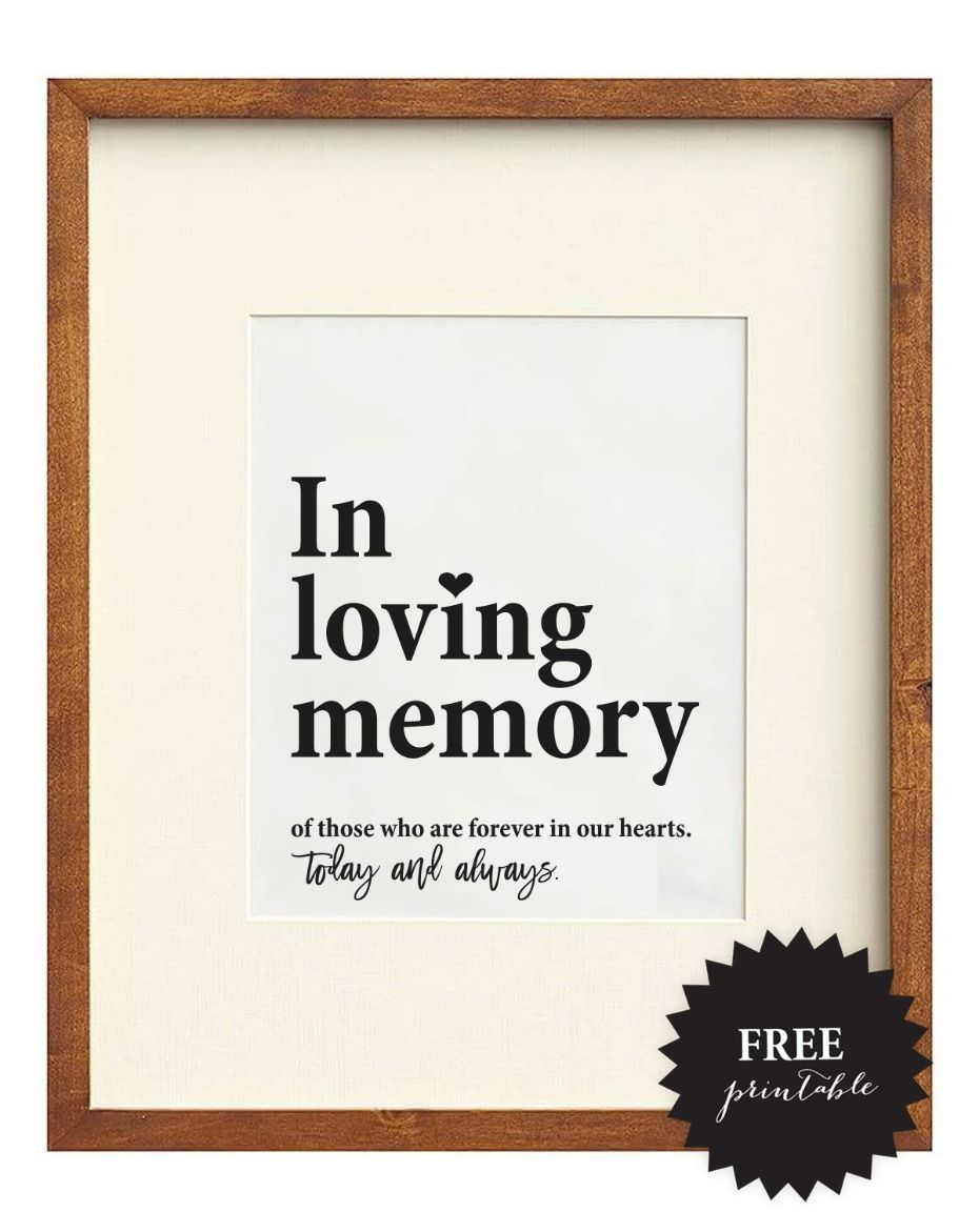 Free Wedding Memorial Signs + 5 Remembrance Ideas | Wedding Signs - Free Printable Wedding Decorations