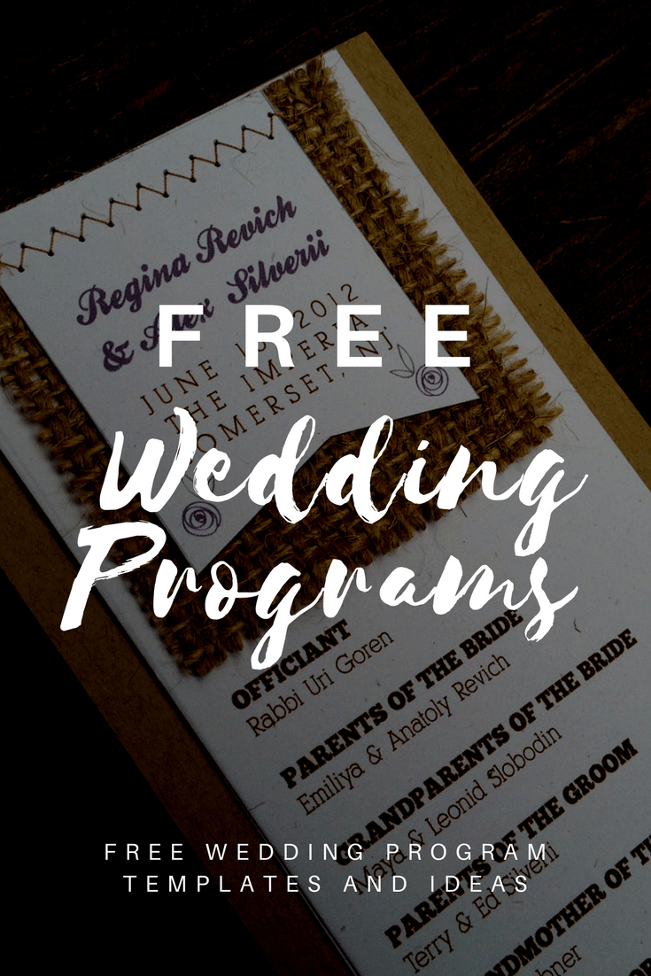 Free Wedding Program Templates | Wedding Program Ideas - Free Printable Wedding Programs