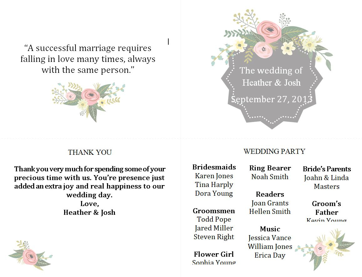 Free Wedding Program Templates You Can Customize - Free Printable Wedding Programs