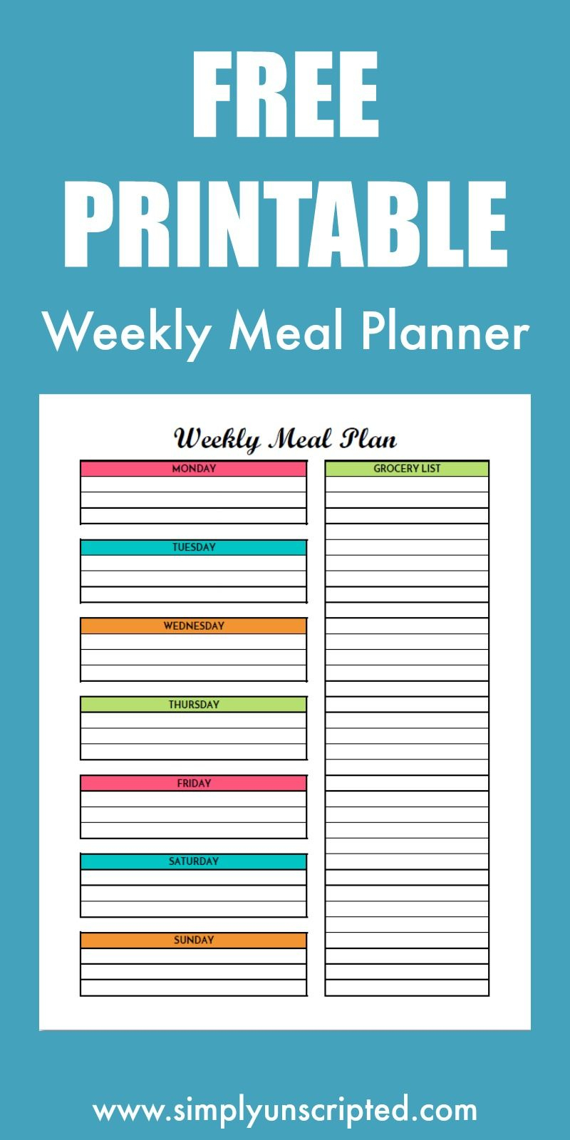 Free Weekly Meal Planning Printable With Grocery List | Free - Create A Menu Free Printable