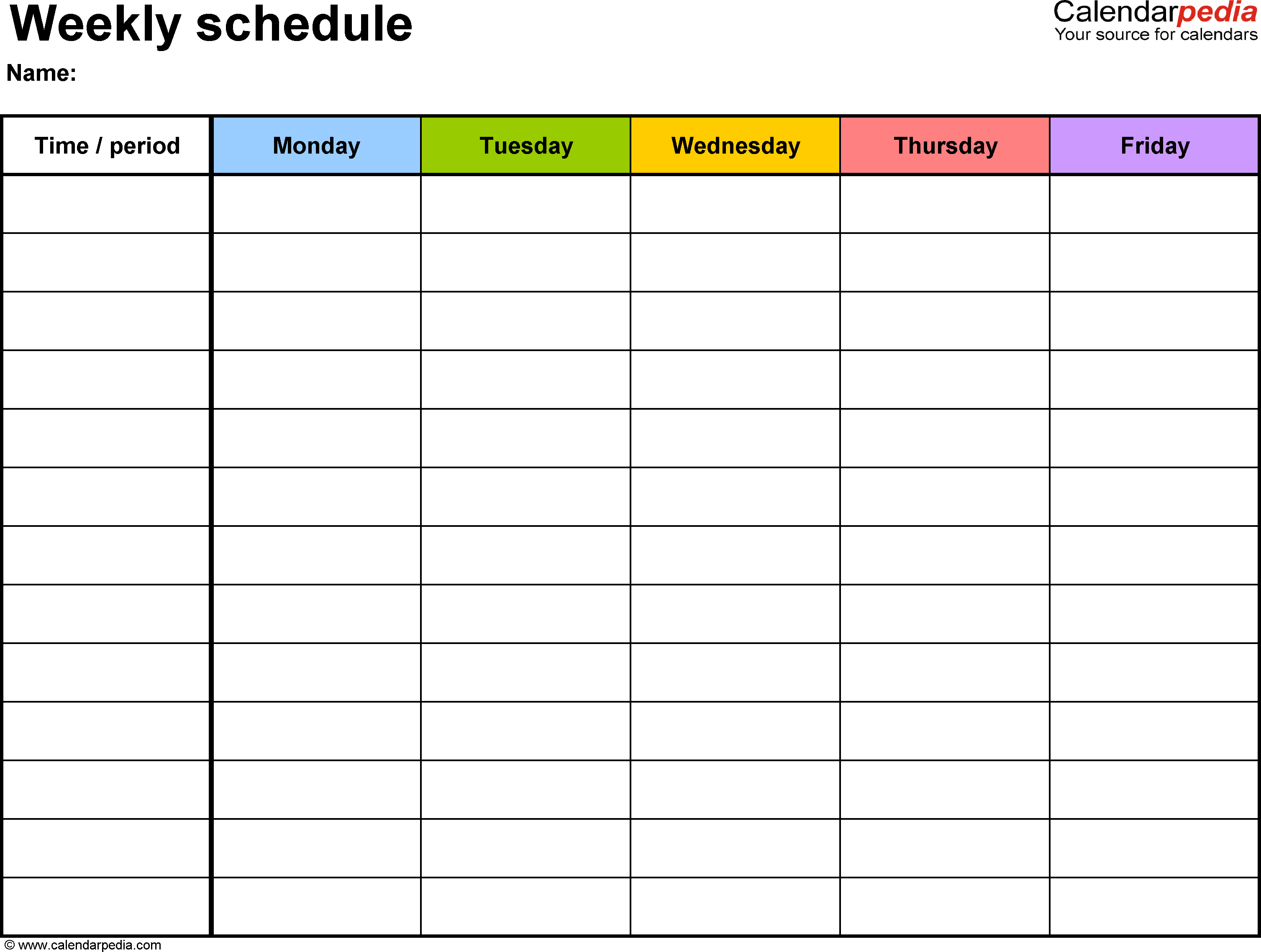 Free Weekly Schedule Templates For Word - 18 Templates - Free Printable Daily Schedule Chart