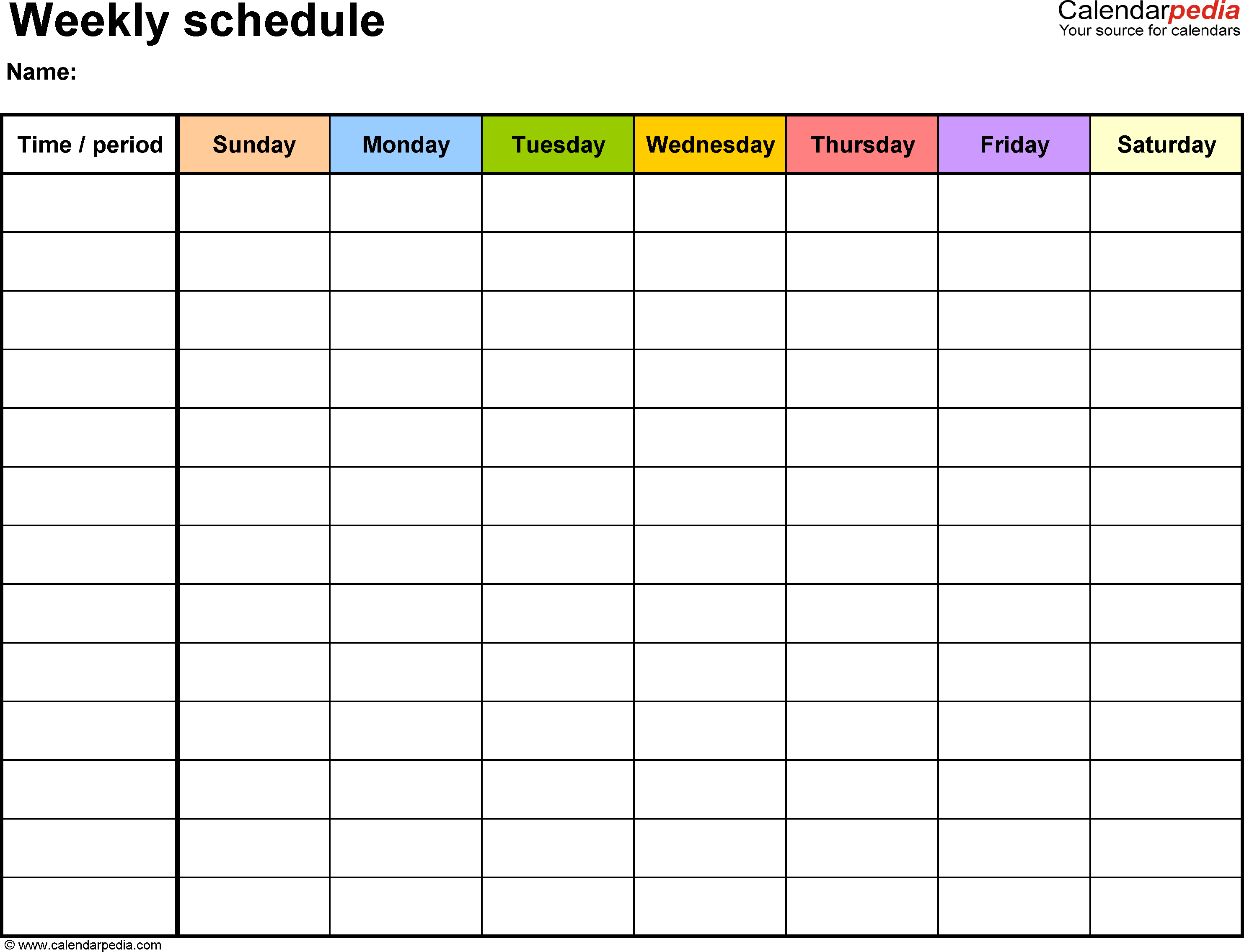 Free Weekly Schedule Templates For Word - 18 Templates - Free Printable Weekly Appointment Sheets