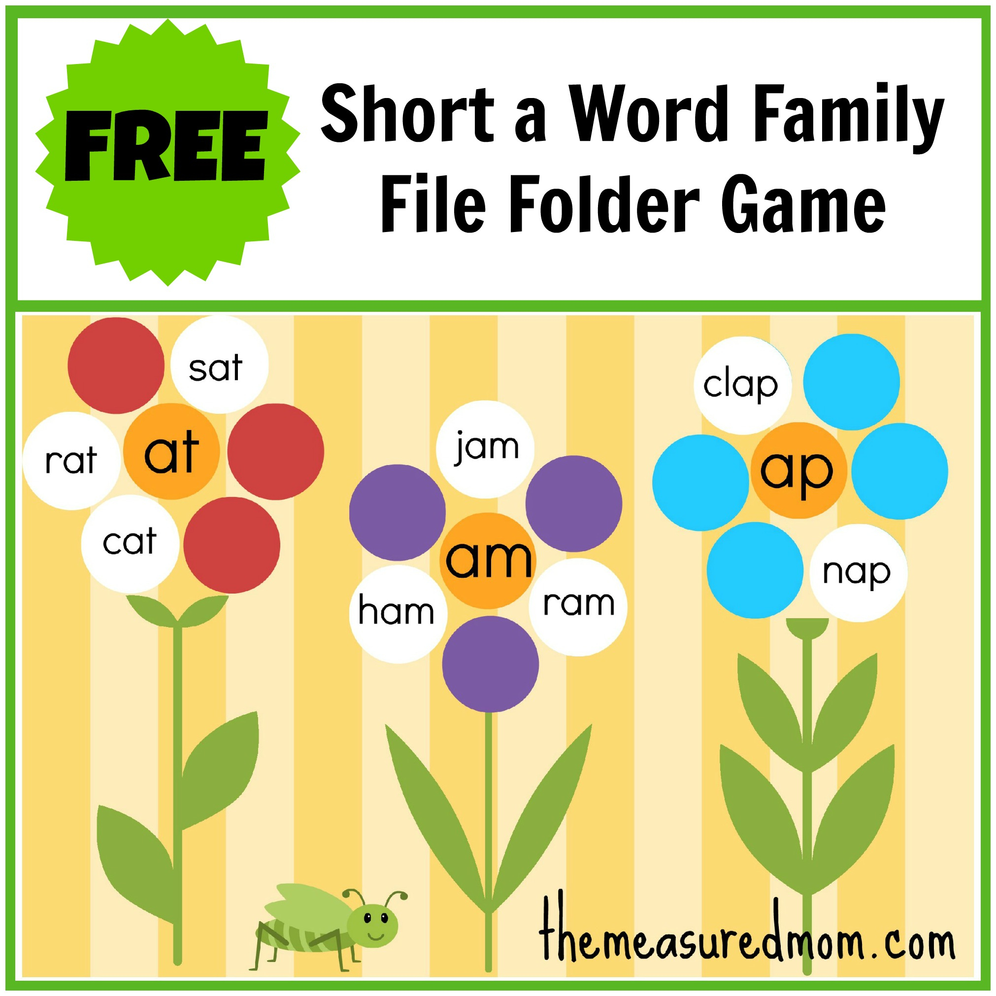 Free Word Family File Folder Game: Short A - The Measured Mom - Free Printable Word Family Games