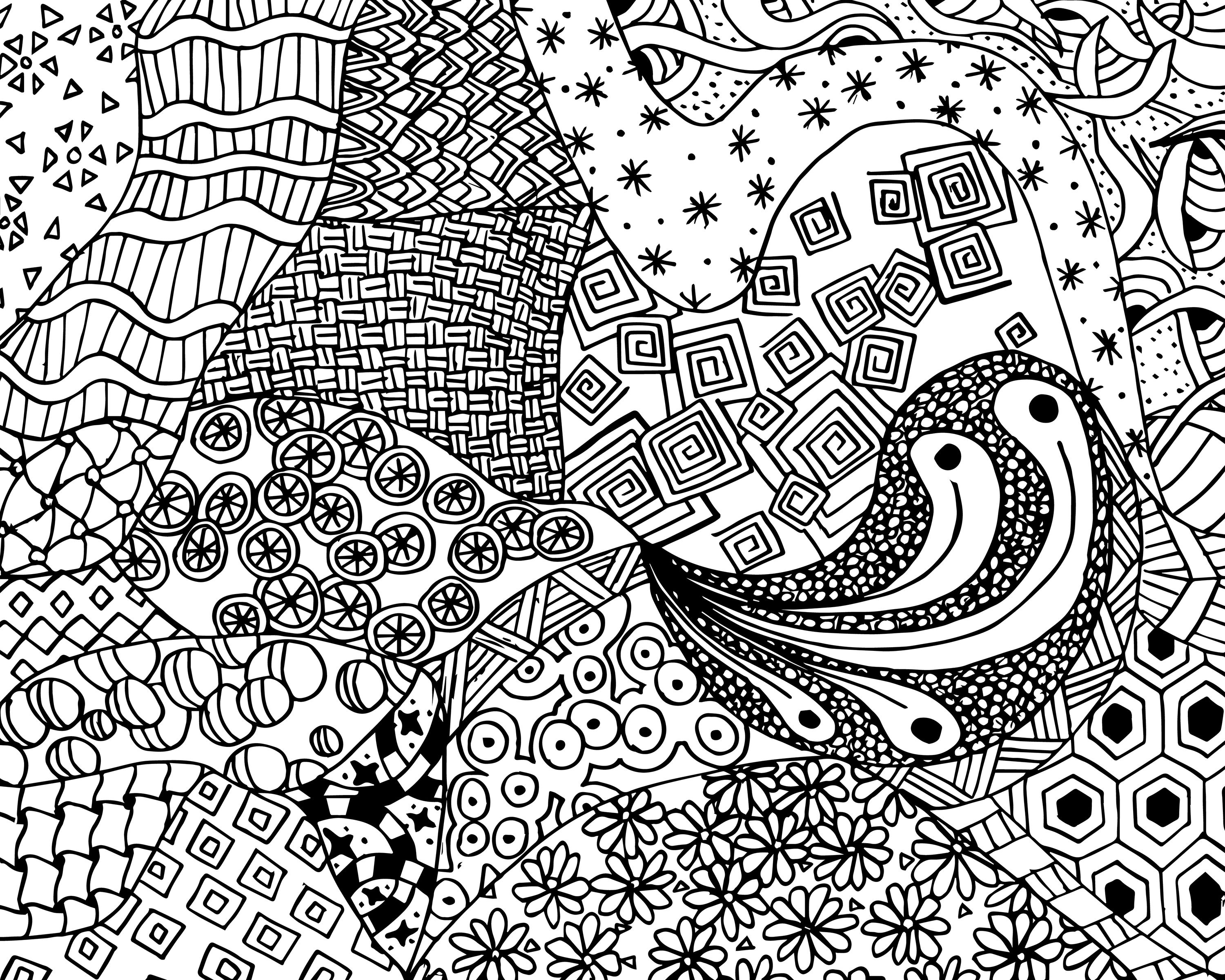 Free Zen Doodle Design Adult Coloring Page Printable With Zendoodle - Free Printable Zen Coloring Pages