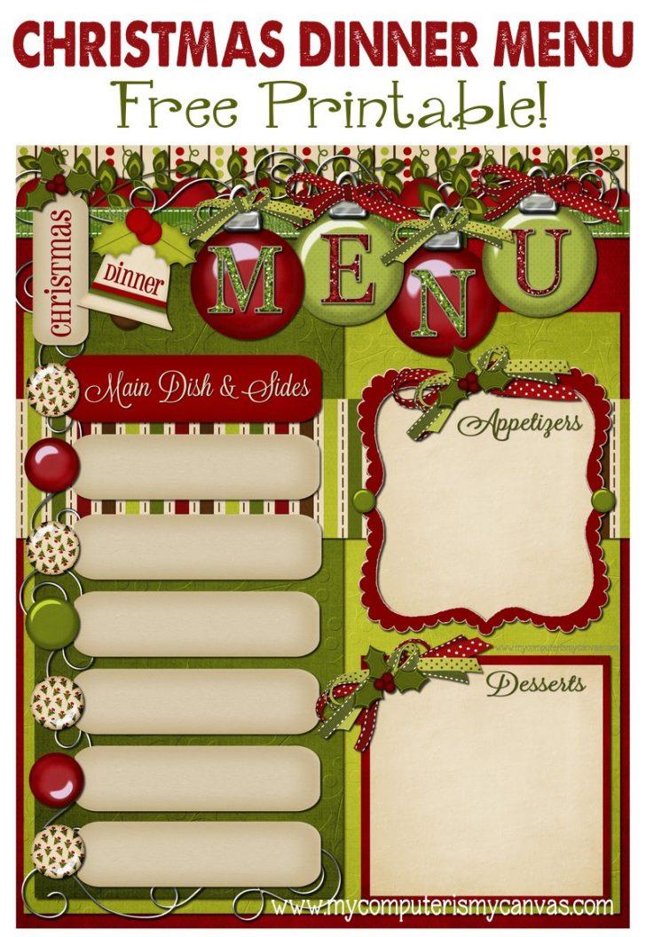 Christmas Menu Printable Template Free