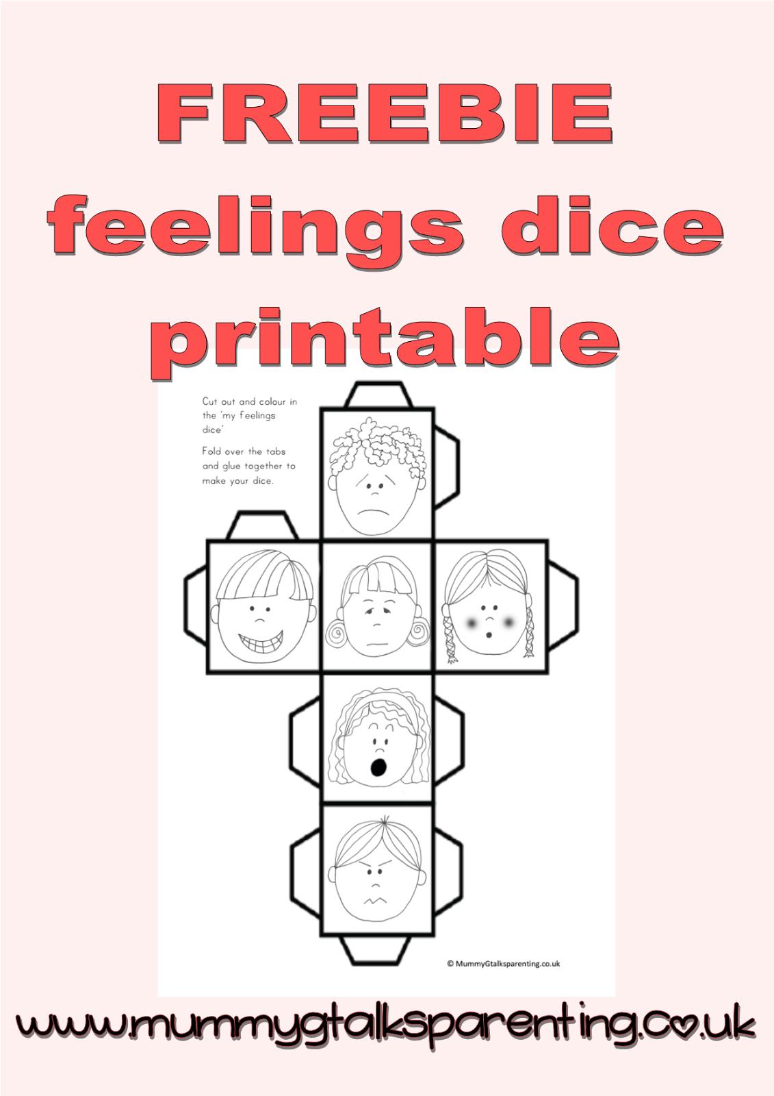 Freebie Feeling Dice Printable. Freebie Preschool Printables. Fun - Free Printable Childminding Resources