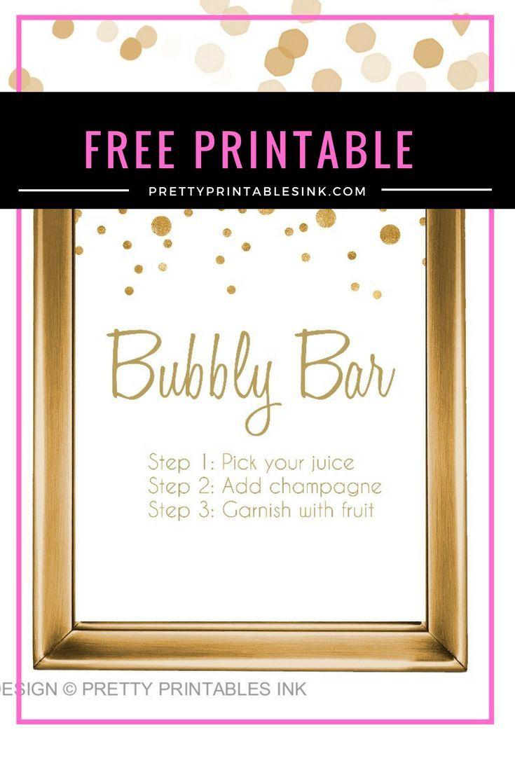 Freebie Friday - Bubbly Bar Sign | Birthday | Bubbly Bar, Bridal - Free Printable Bachelorette Signs
