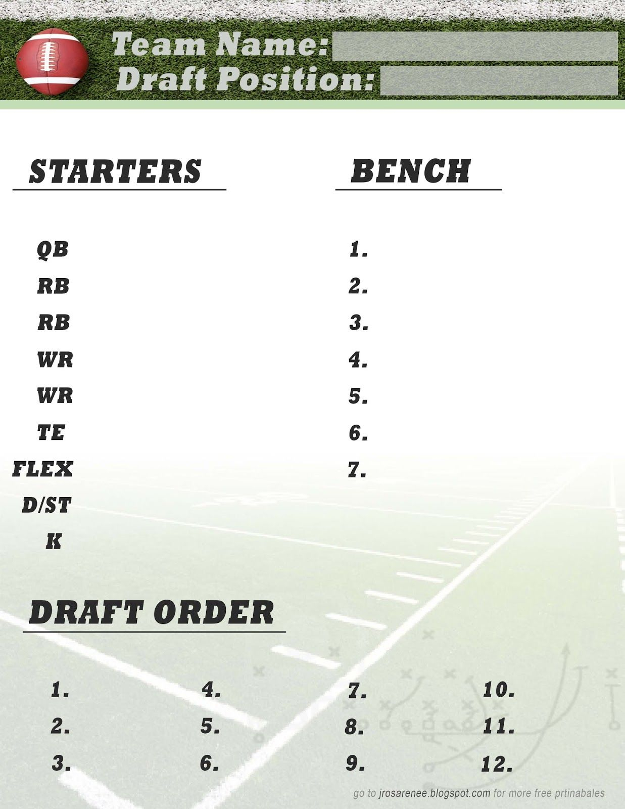 Freebie Friday, Fantasy Football Roster #free #printable | Great - Fantasy Football Cheat Sheets Printable Free