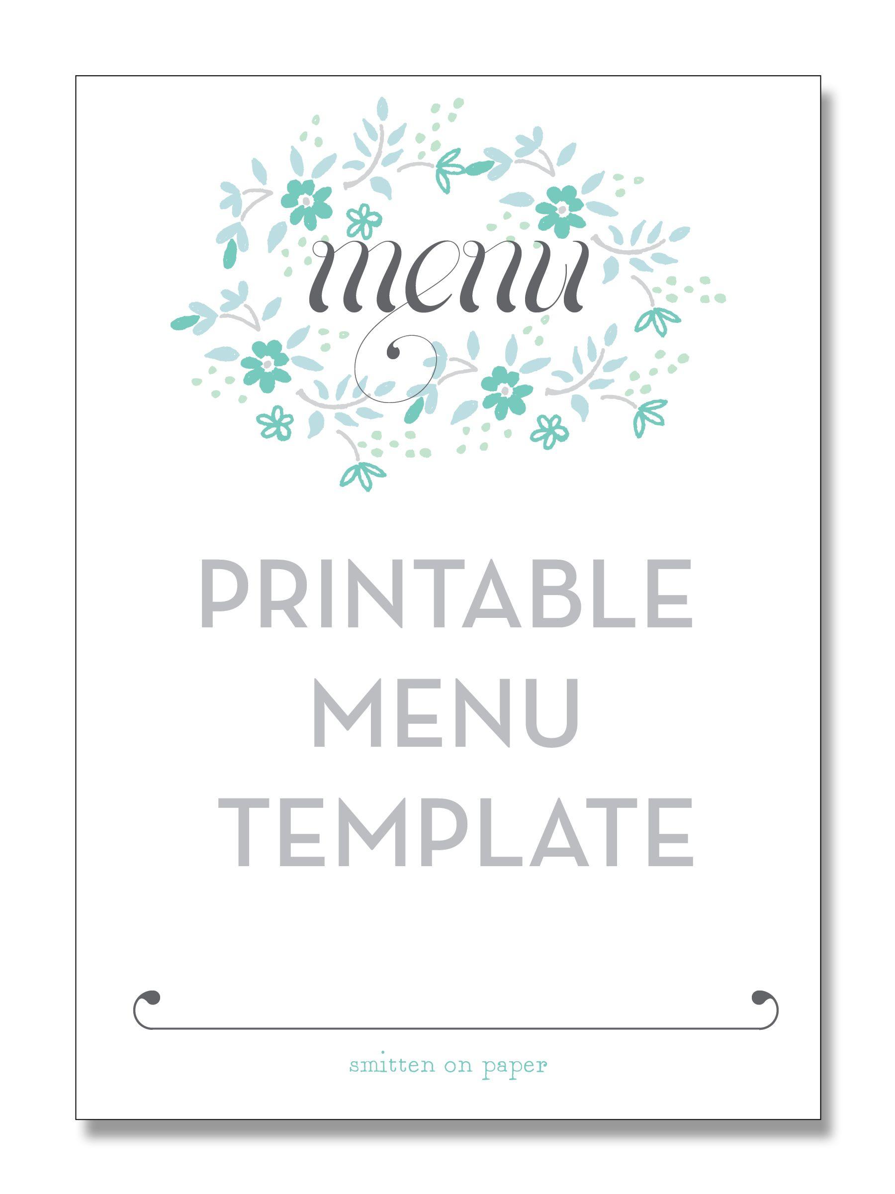 Freebie Friday: Printable Menu | Party Time! | Pinterest | Free - Free Printable Dinner Party Menu Template