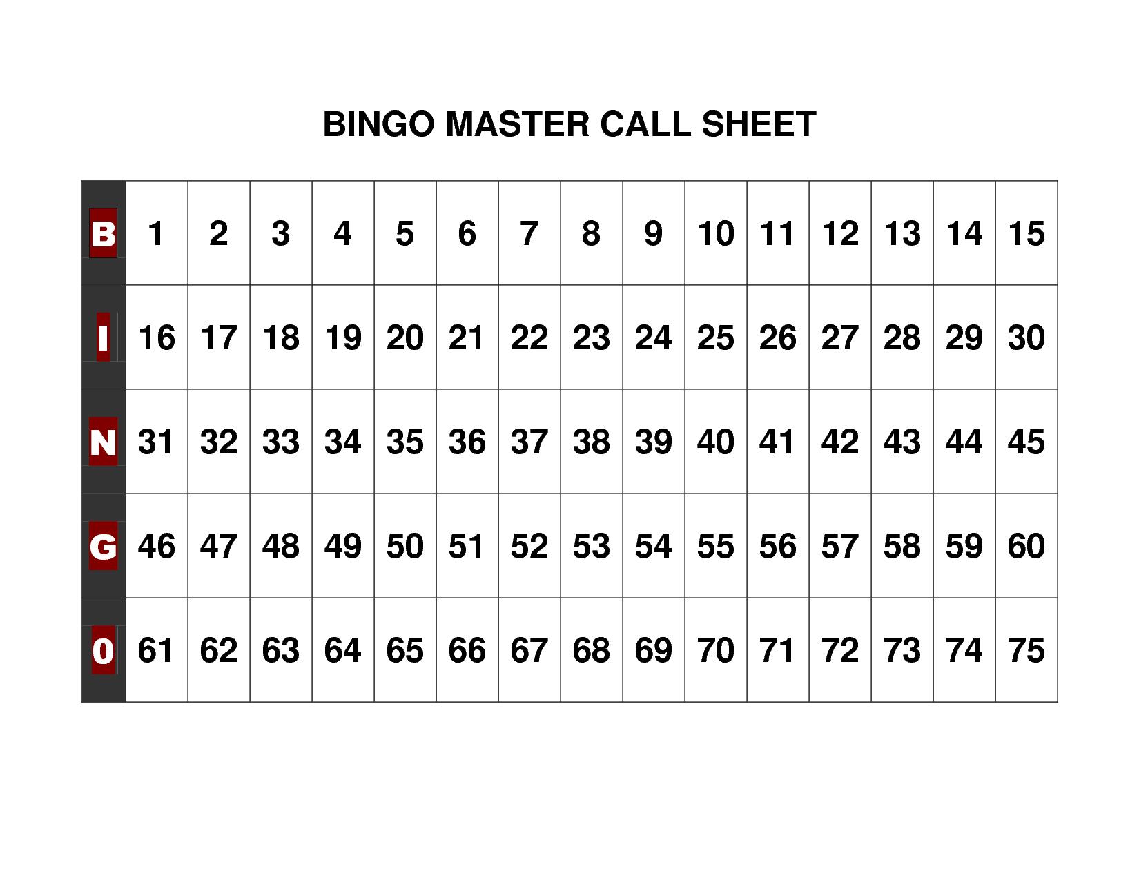 Free+Printable+Bingo+Call+Sheet   Bingo   Pinterest   Bingo Calls - Free Printable Bingo Chips