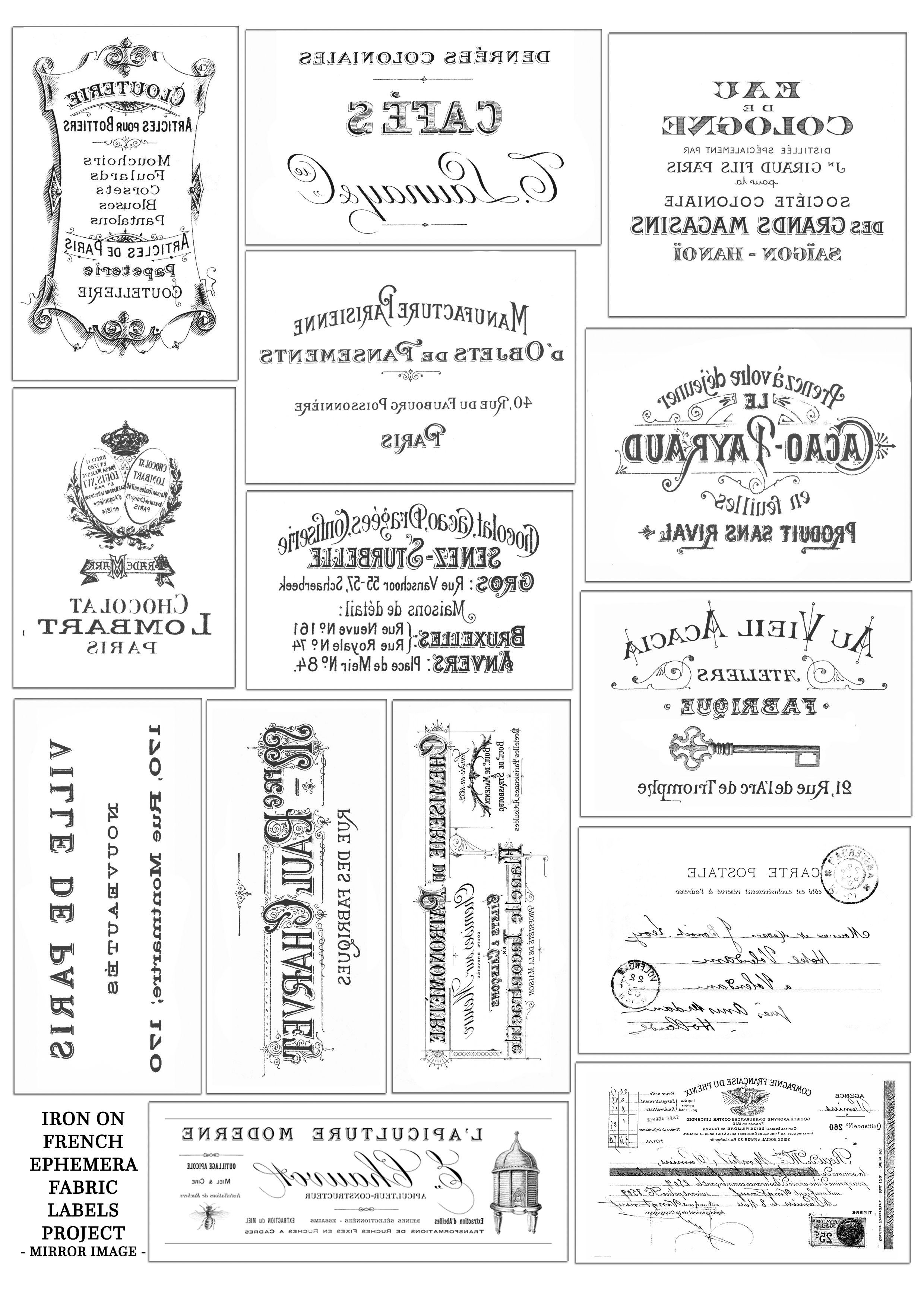 French Ephemera Fabric Labels Or Tags – Mirror Image | Pictures - Free Printable Mirrored Numbers