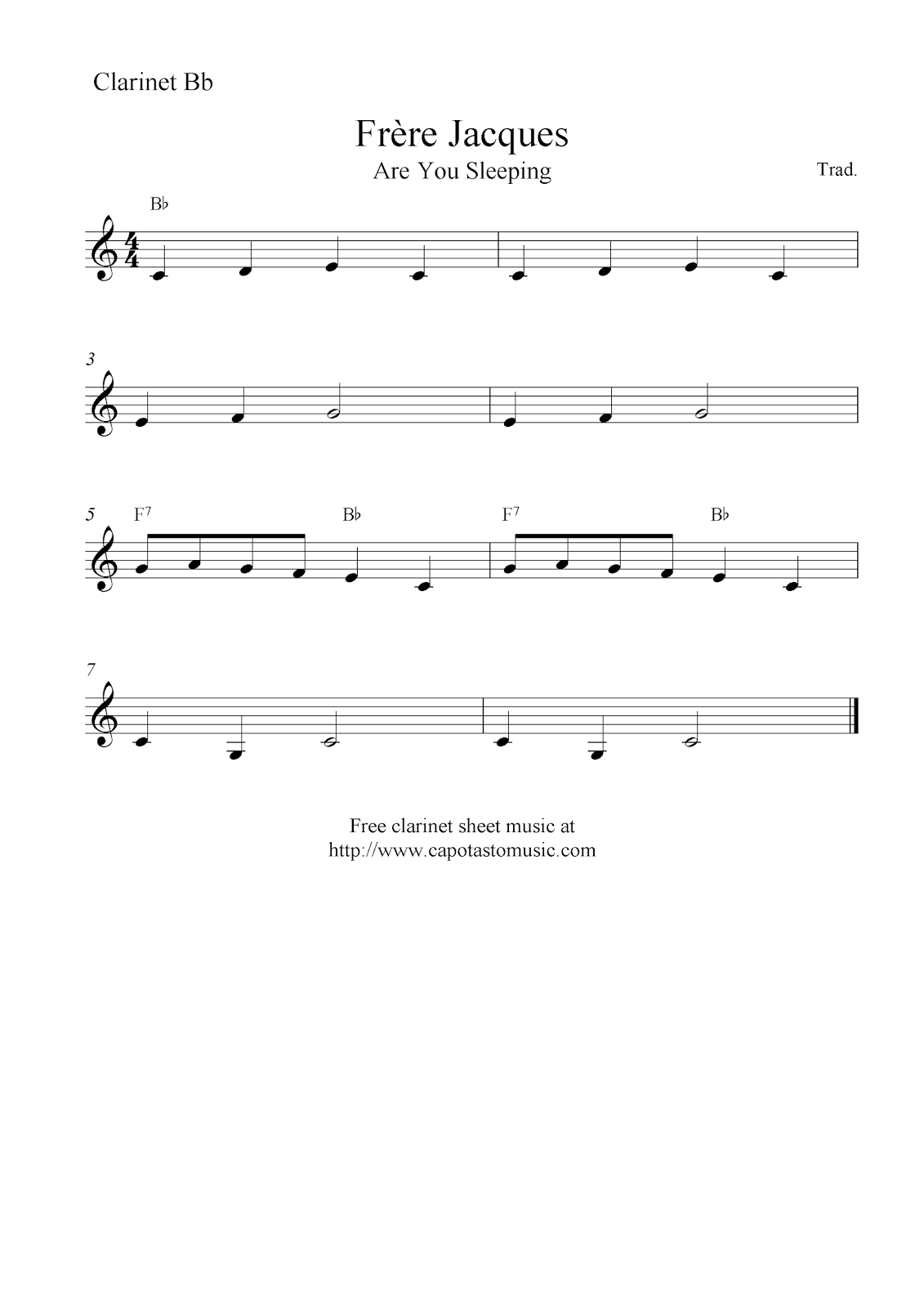 Frère Jacques (Are You Sleeping), Free Easy Clarinet Sheet Music Notes - Free Printable Clarinet Music