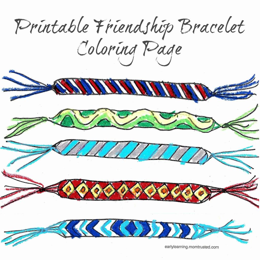 Friendship Bracelet Printable Coloring Page | Preschool Activities - Free Printable Friendship Bracelet Patterns