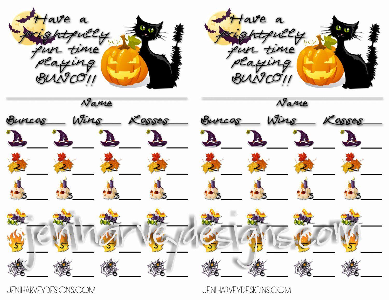 Frightful Halloween Bunco Score Cards Etsy - Free Printable Halloween Bunco Score Sheets