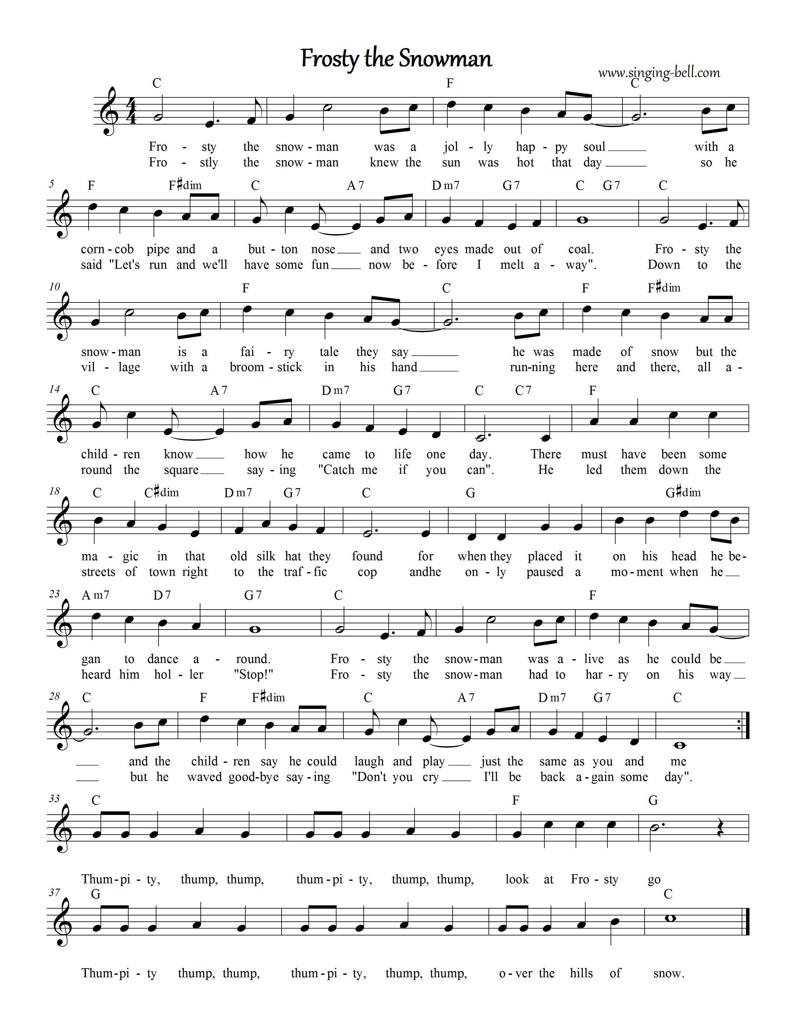 Frosty The Snowman | Free Christmas Carols Karaoke - Free Printable Lyrics To Christmas Carols