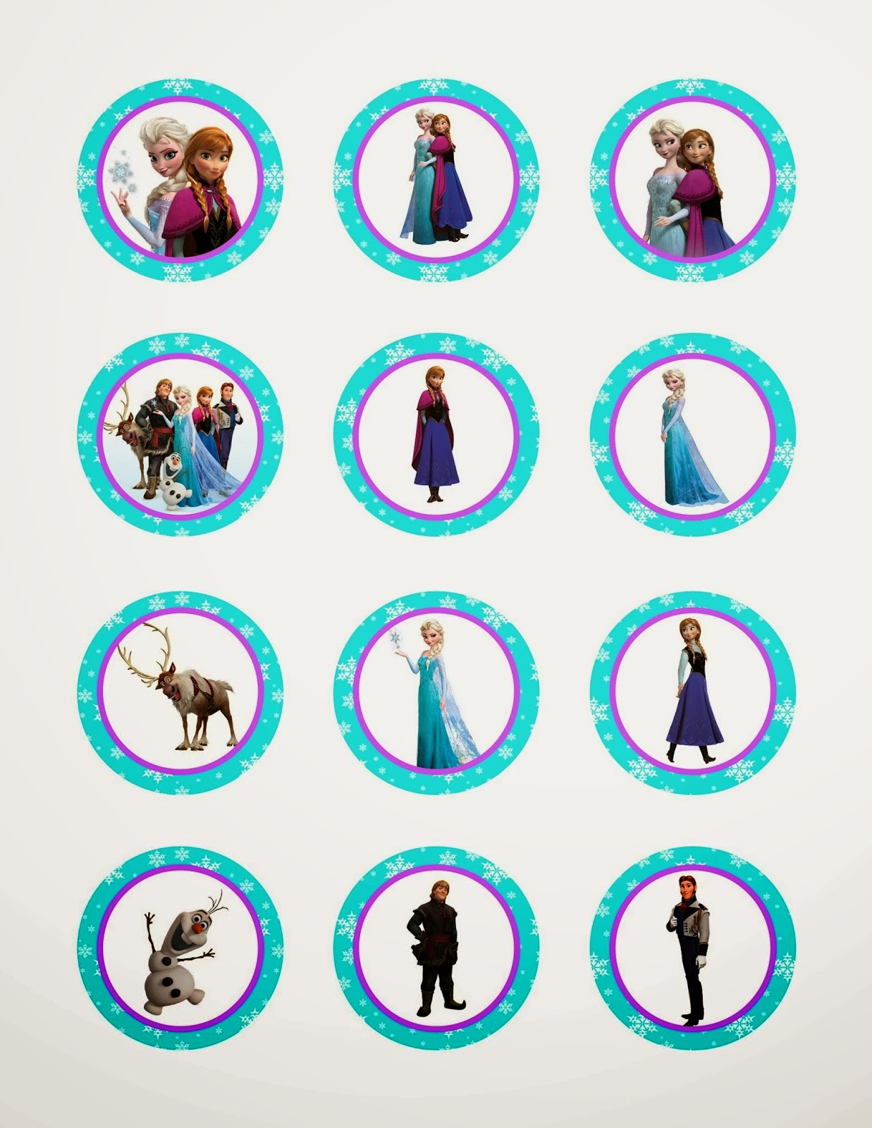 Frozen: Free Printable Toppers. | Oh My Fiesta! In English - Frozen Cupcake Toppers Free Printable