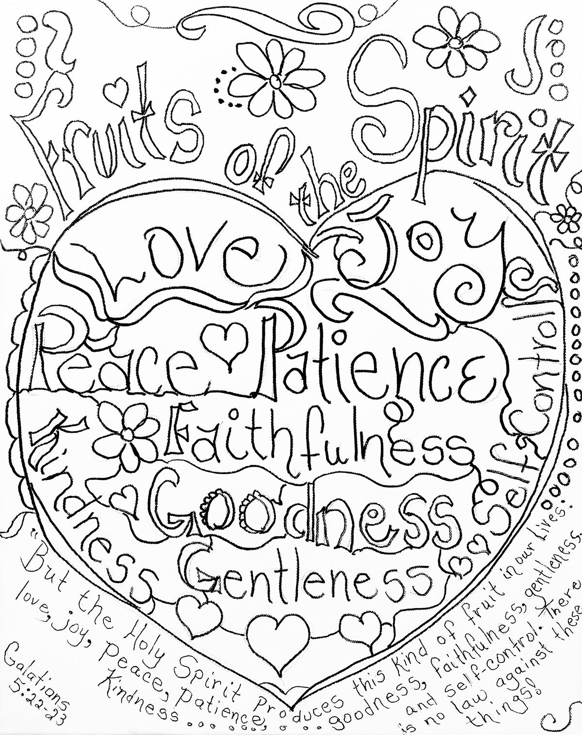 Fruits Of The Spirit Coloring Pagecarolyn Altman. Galatians 5:22 - Fruit Of The Spirit Free Printable