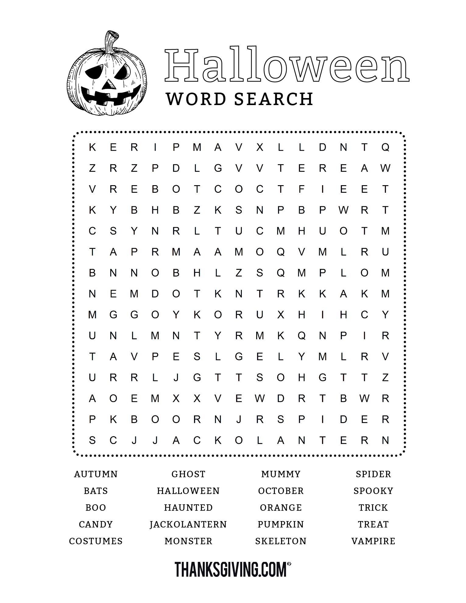 Fun & Free Printable Halloween Word Search - Thanksgiving - Free Printable Halloween Word Search Puzzles