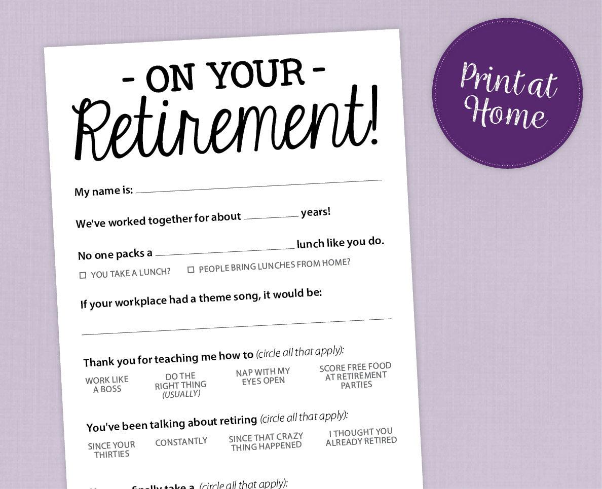 Fun Retirement Party Game Printable Pdf Card | Etsy - Retirement Party Games Free Printable