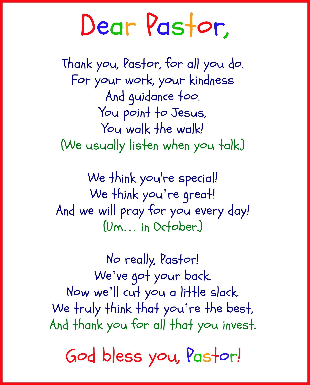 Funny Pastor Appreciation Poems | Pastor | Pastor Appreciation Day - Pastor Appreciation Cards Free Printable
