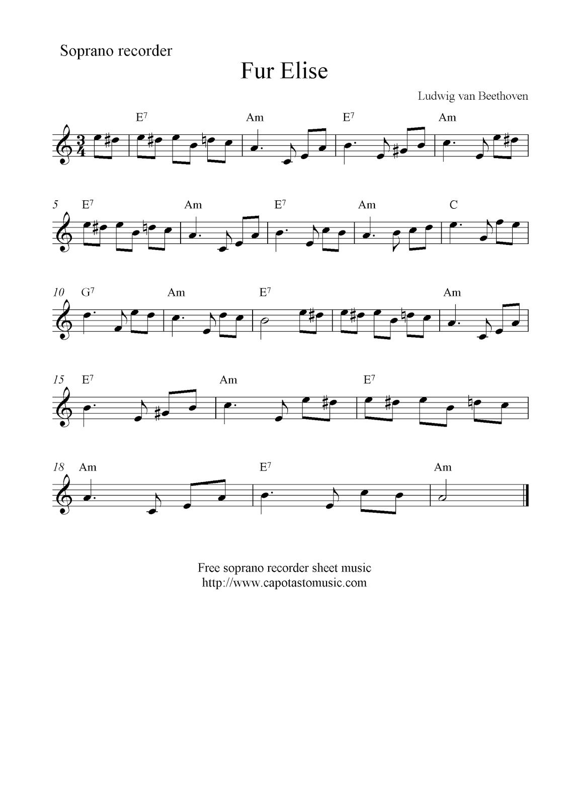 Fur Elise, Free Soprano Recorder Sheet Music Notes | Piano - Free Printable Piano Sheet Music Fur Elise