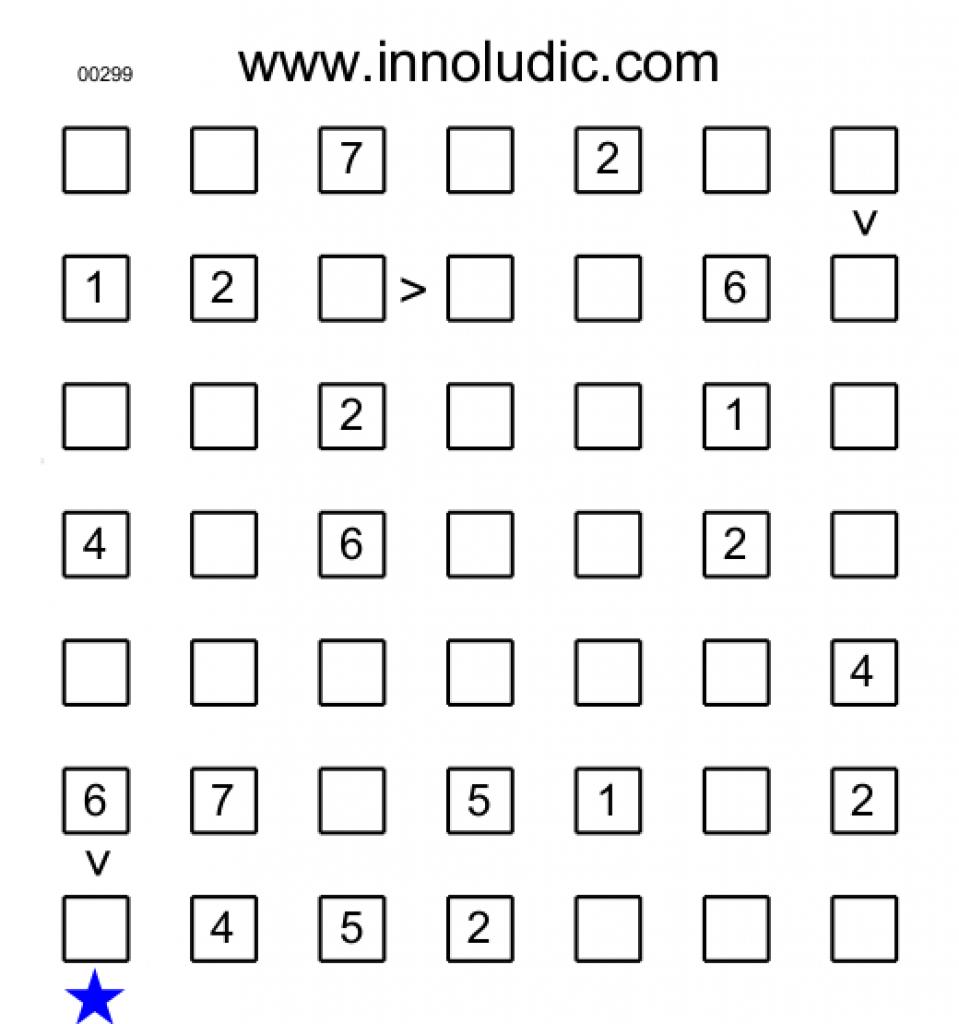 Futoshiki For Free Printable Futoshiki Puzzles | Free Printable - Free Printable Futoshiki Puzzles