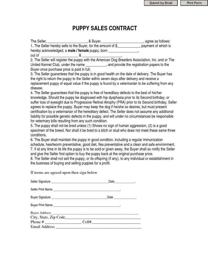 Free Printable Puppy Sales Contract
