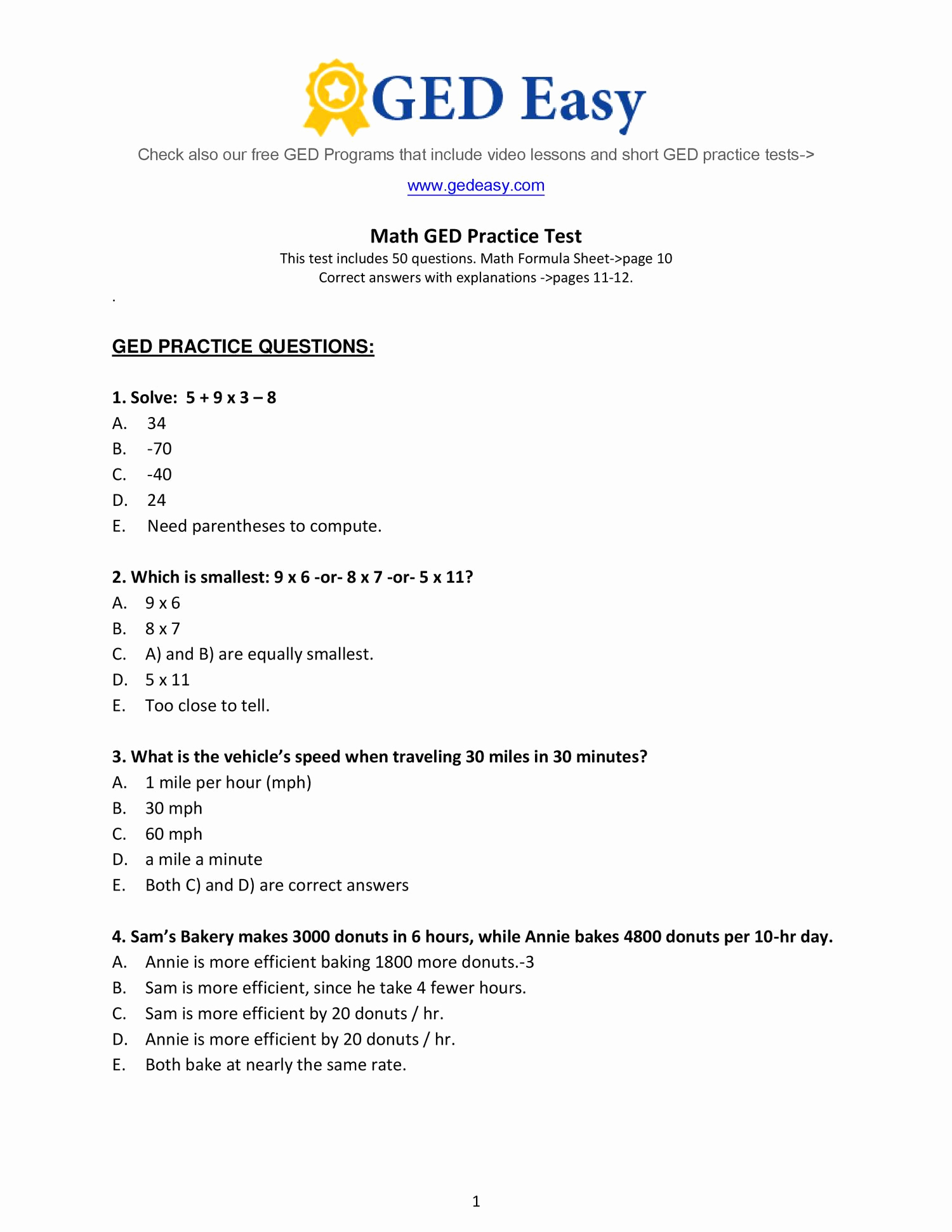 Ged Math Practice Test 2016 Awesome Ged Test Preparation Materials - Free Printable Ged Practice Test With Answer Key 2017