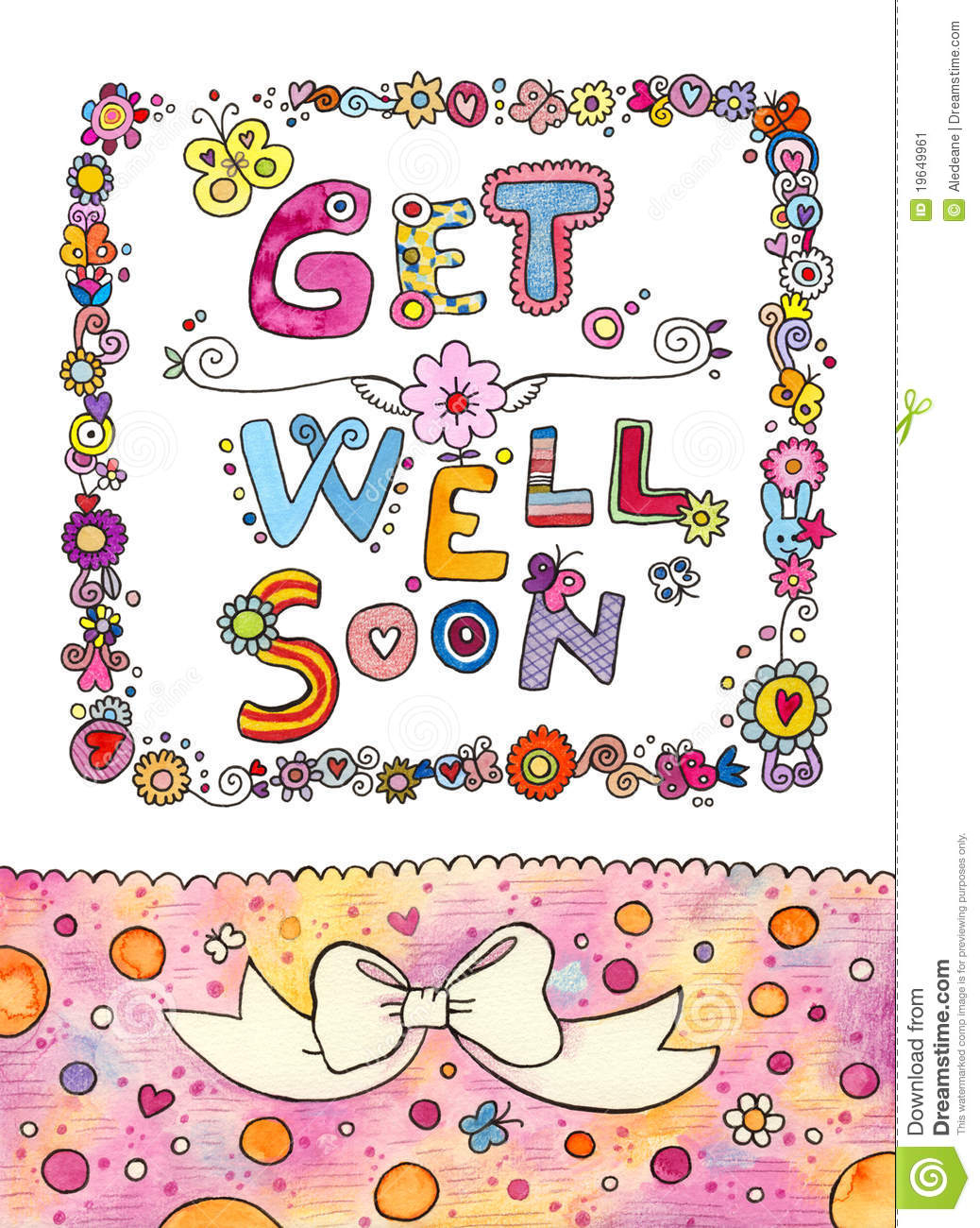 Get Well Soon Card Stock Illustration. Illustration Of Cute - 19649961 - Free Printable Get Well Soon Cards
