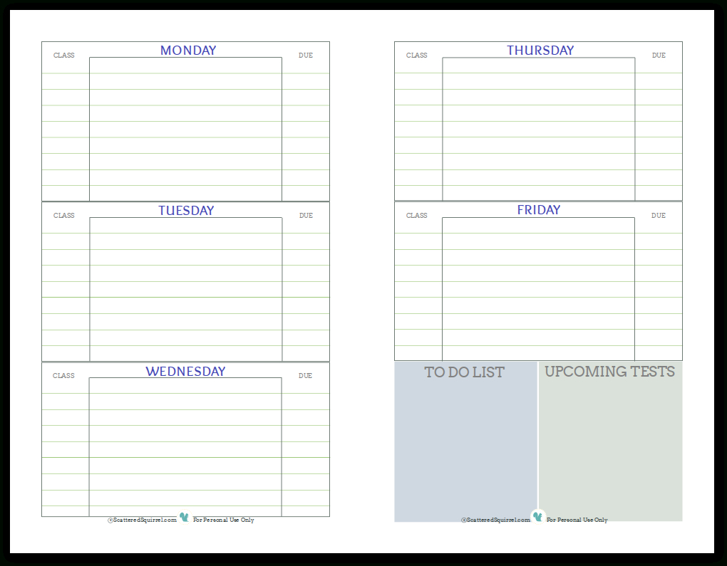 Getting Ready For Back To School - Student Planner Printables - Free Printable Student Planner