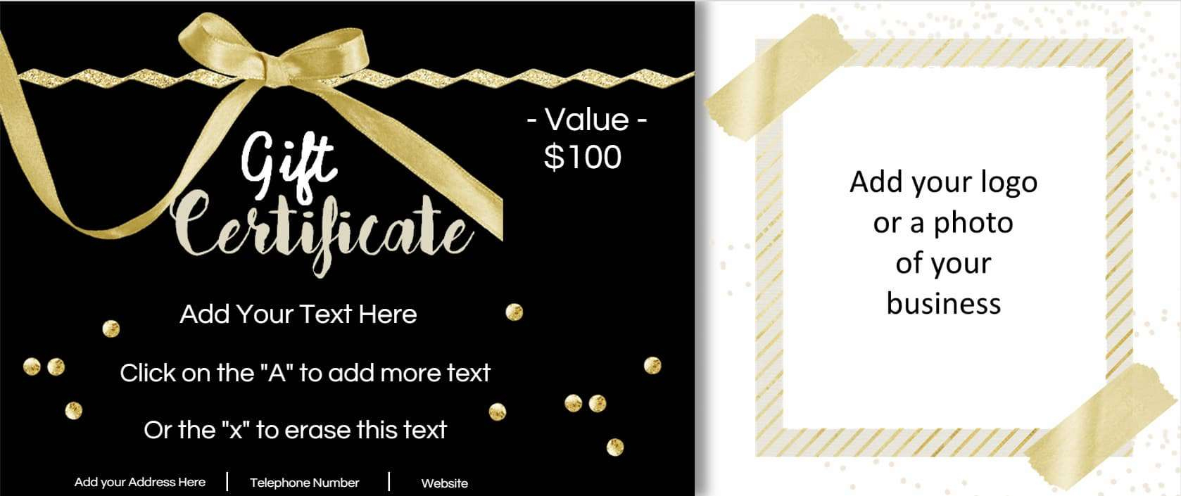 Gift Certificate Template With Logo - Free Printable Photography Gift Certificate Template