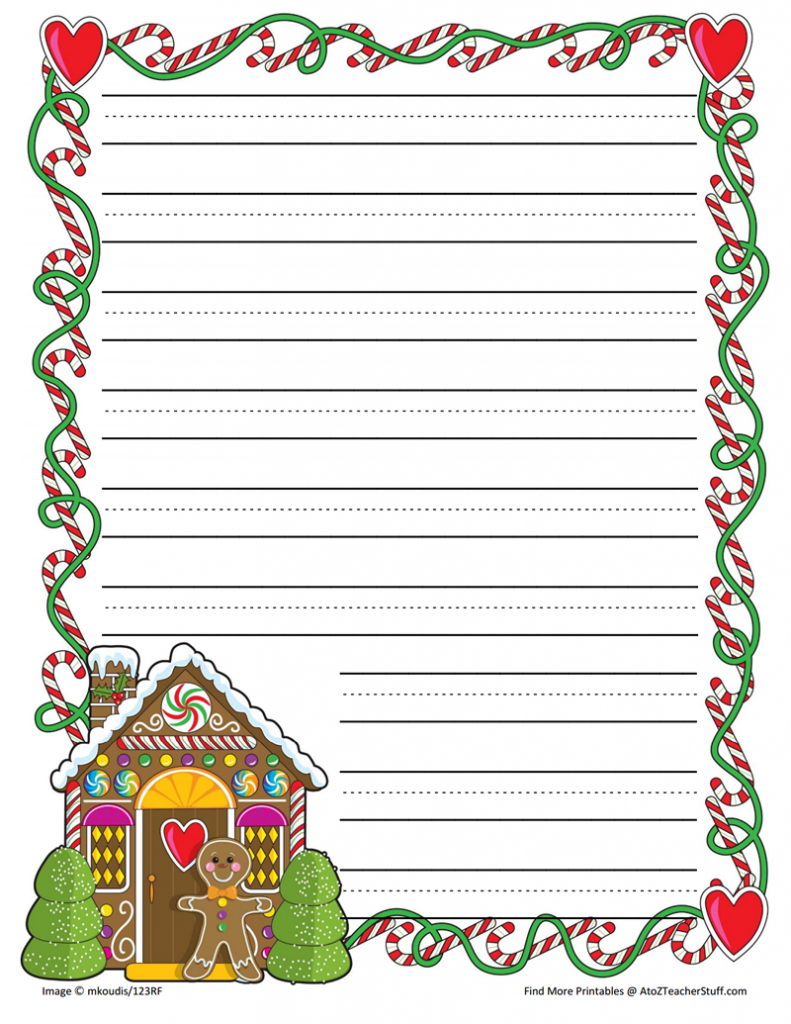 Gingerbread Printable Border Paper With And Without Lines- 4 Designs - Free Printable Christmas Paper With Borders