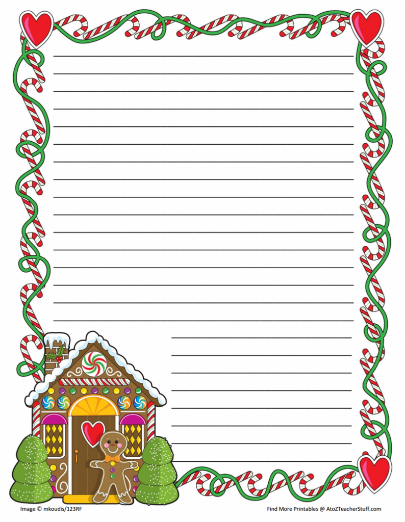 Gingerbread Printable Border Paper With And Without Lines | A To Z - Free Printable Writing Paper With Borders