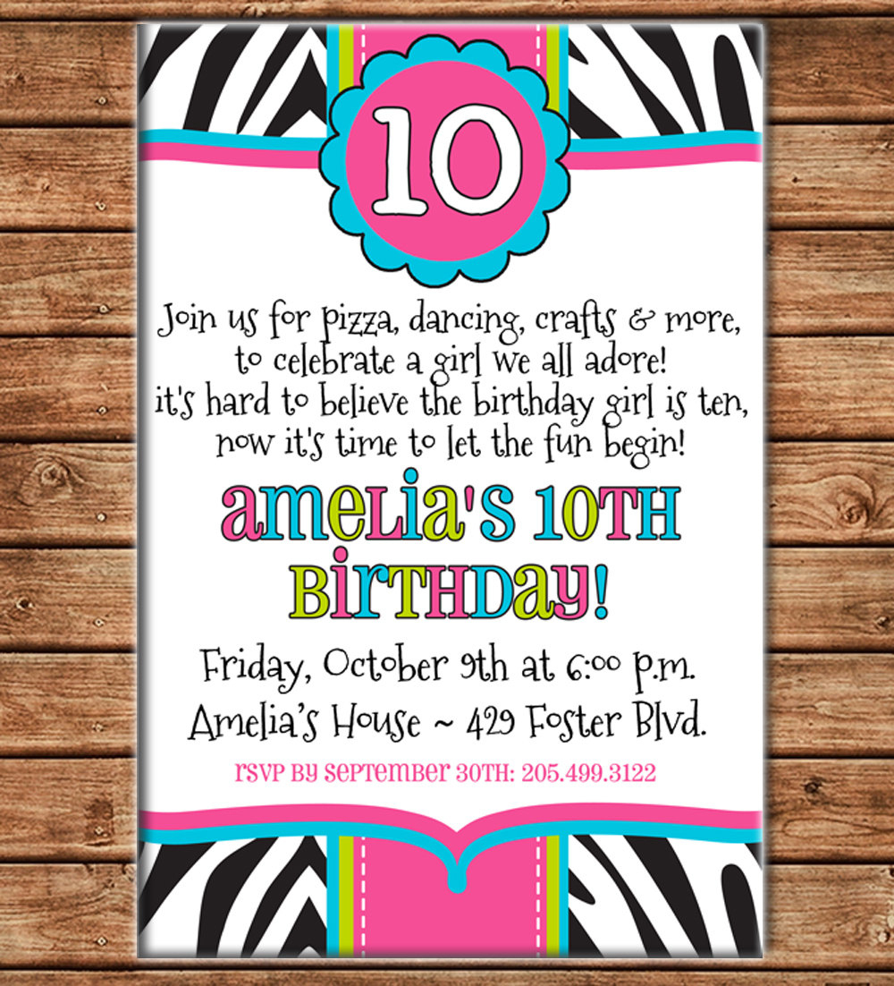 Girl Invitation Tween Teen Zebra Print Birthday Party - Can - Free Printable Zebra Print Birthday Invitations